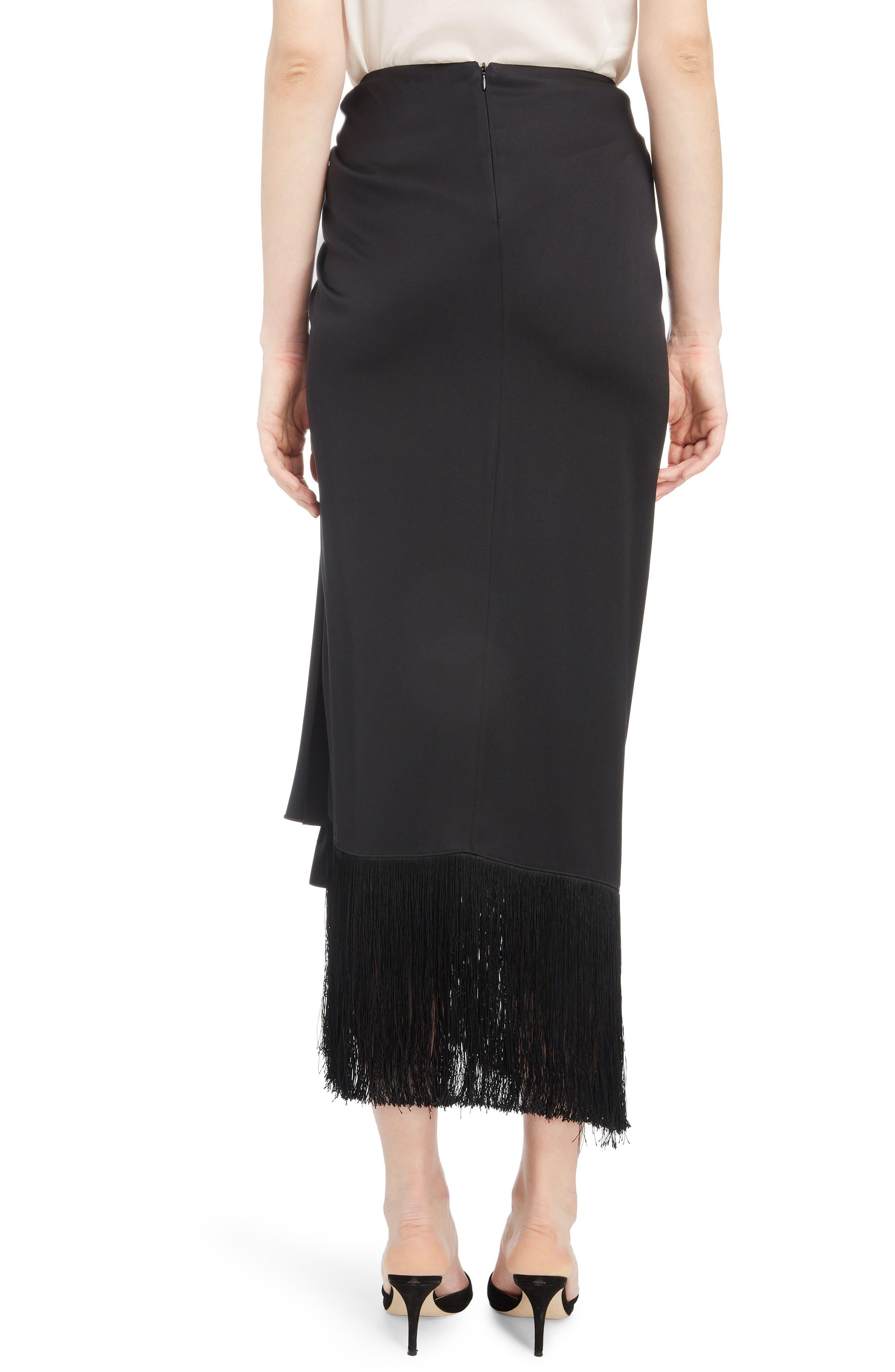 Fringe Trim Silk Skirt,                             Alternate thumbnail 2, color,                             BLACK