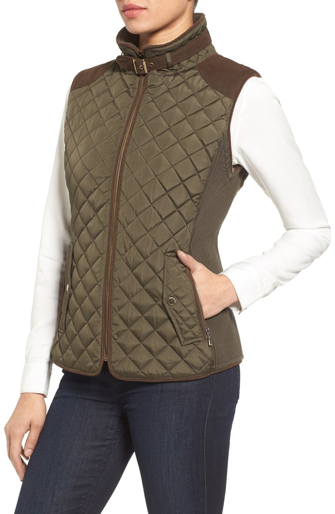 Quilted Vest with Faux Suede Trim,                             Alternate thumbnail 3, color,                             301