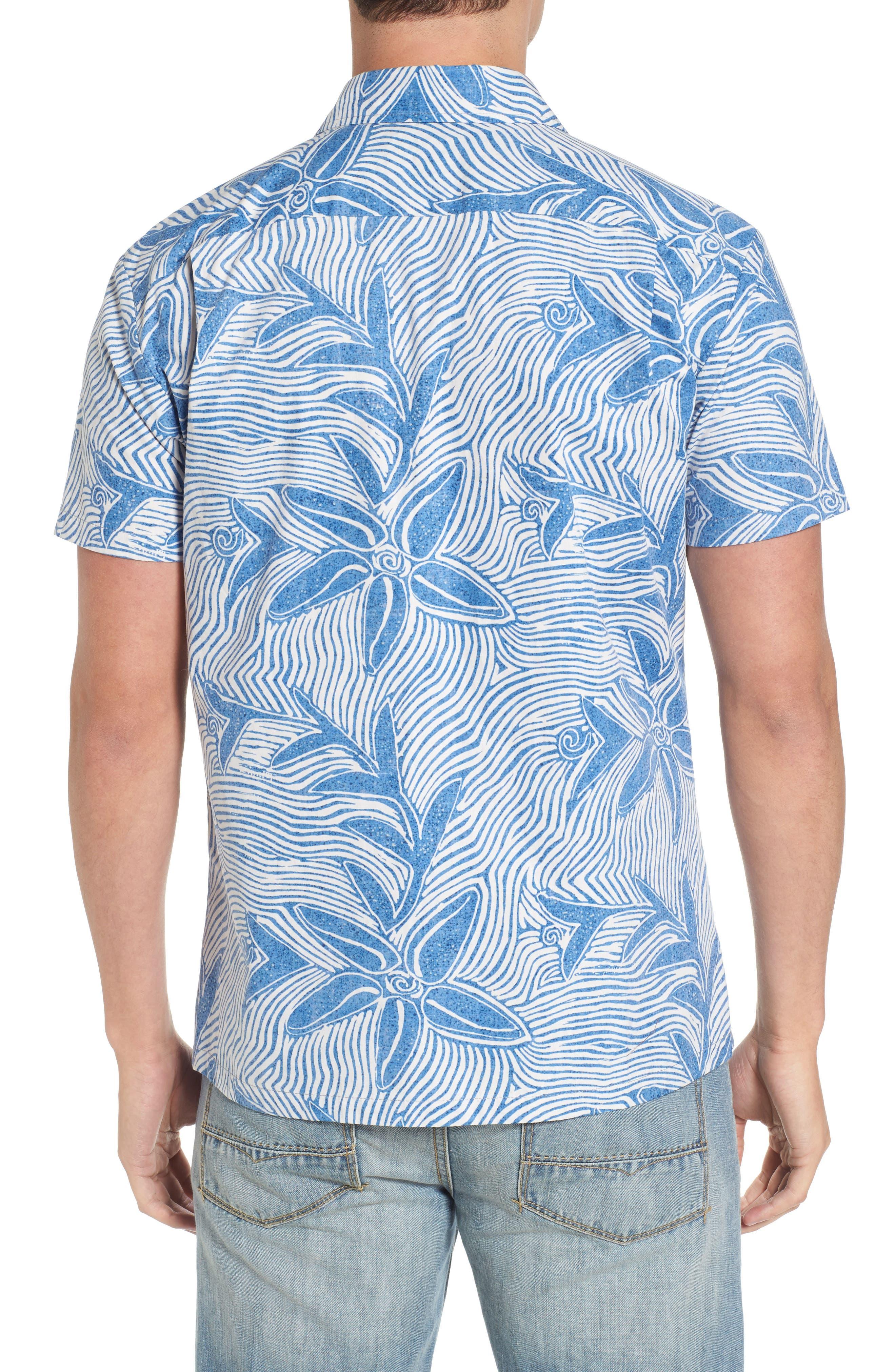 Coral Star Trim Fit Print Sport Shirt,                             Alternate thumbnail 2, color,                             409