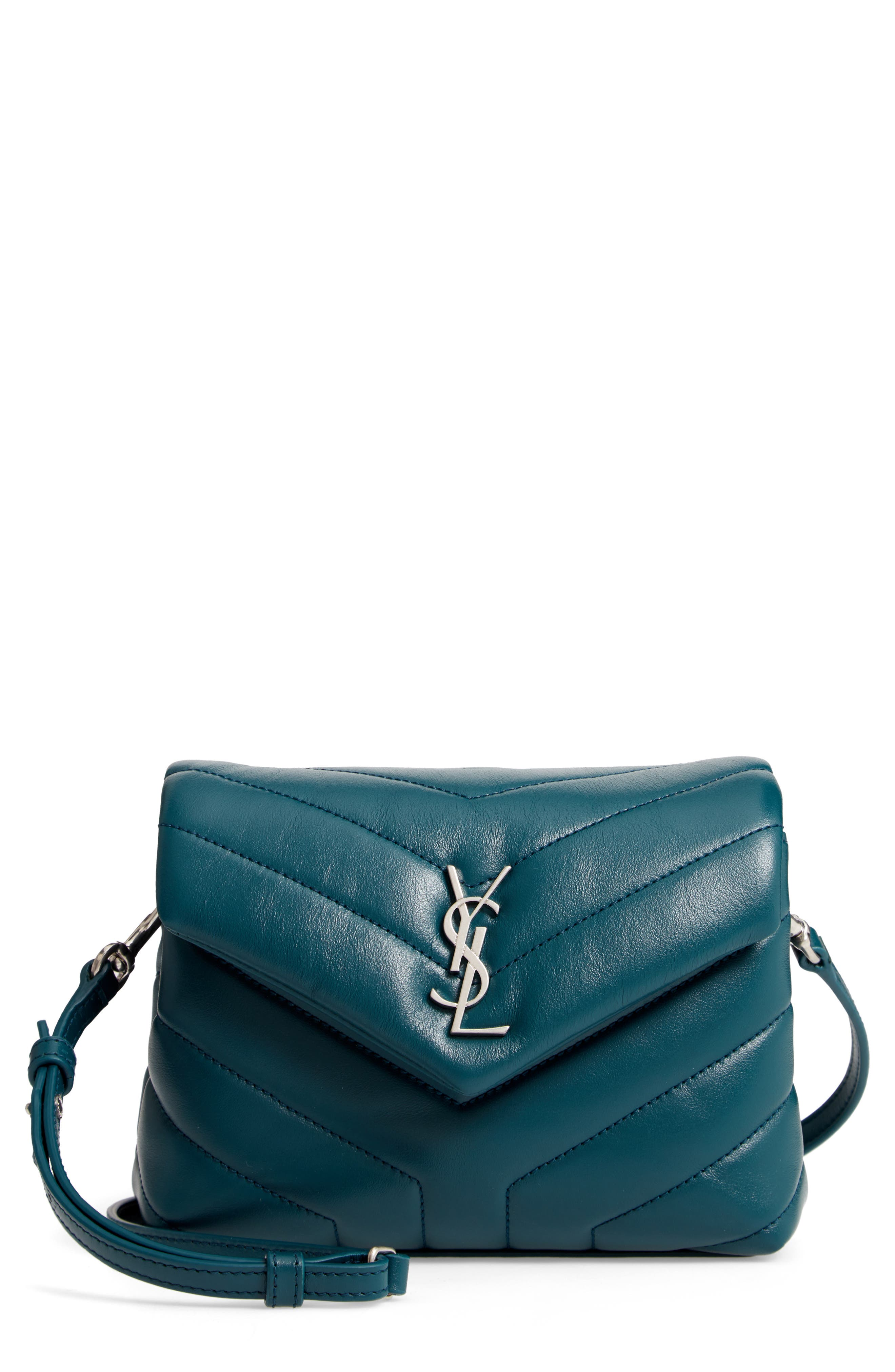 Toy Loulou Calfskin Leather Crossbody Bag in Dark Turquoise