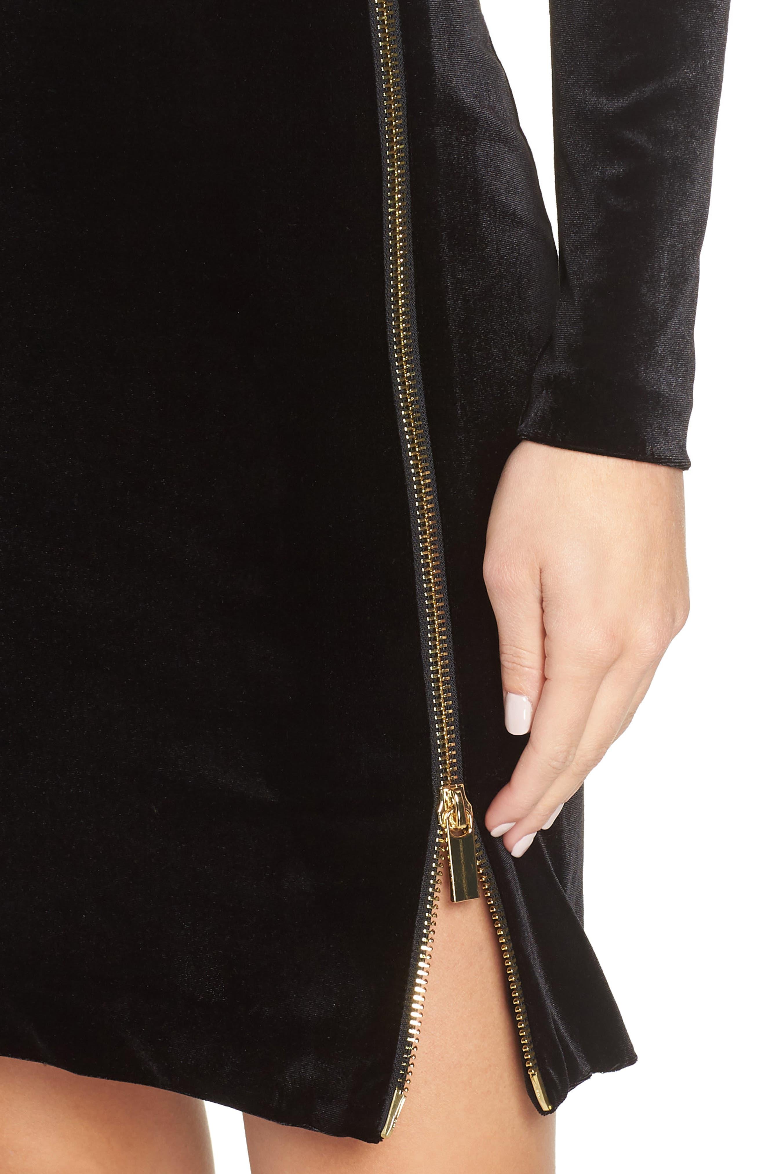 Zella Aurore Velvet Jersey Sheath Dress,                             Alternate thumbnail 4, color,                             BLACK GOLD