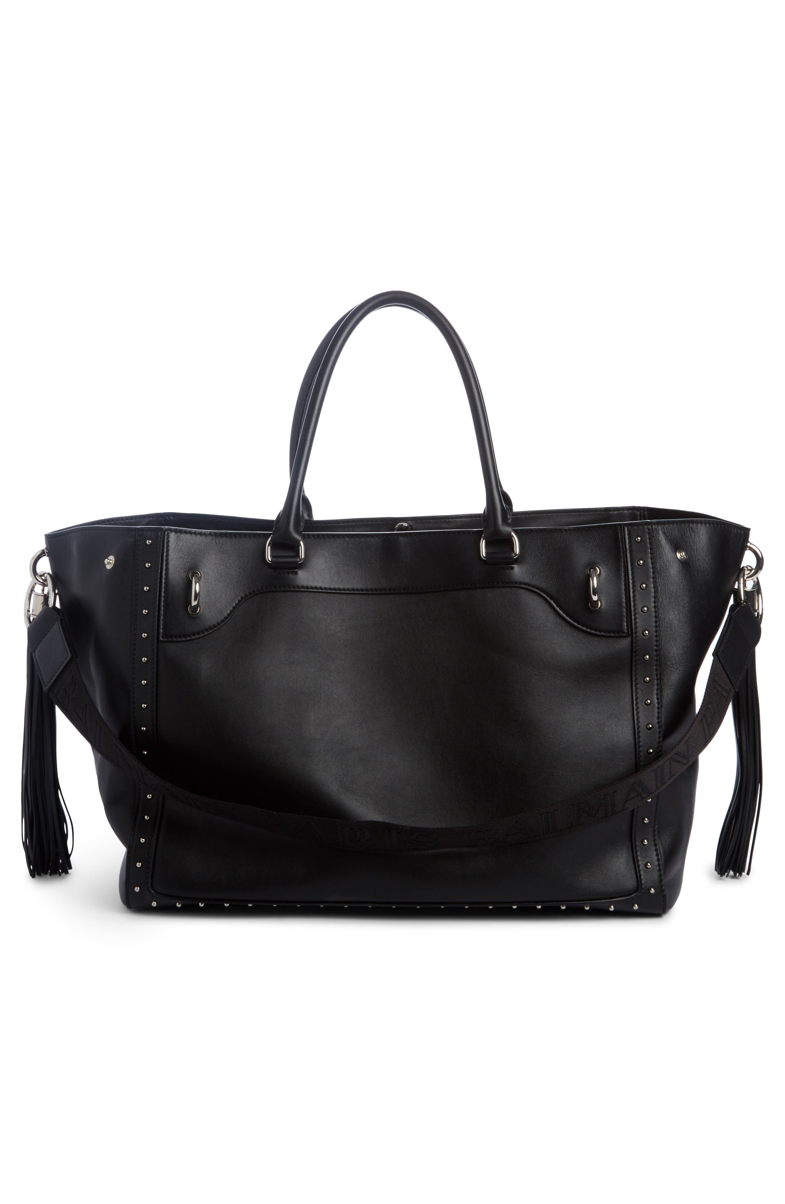 Renaissance Leather Tote,                             Alternate thumbnail 2, color,                             NOIR
