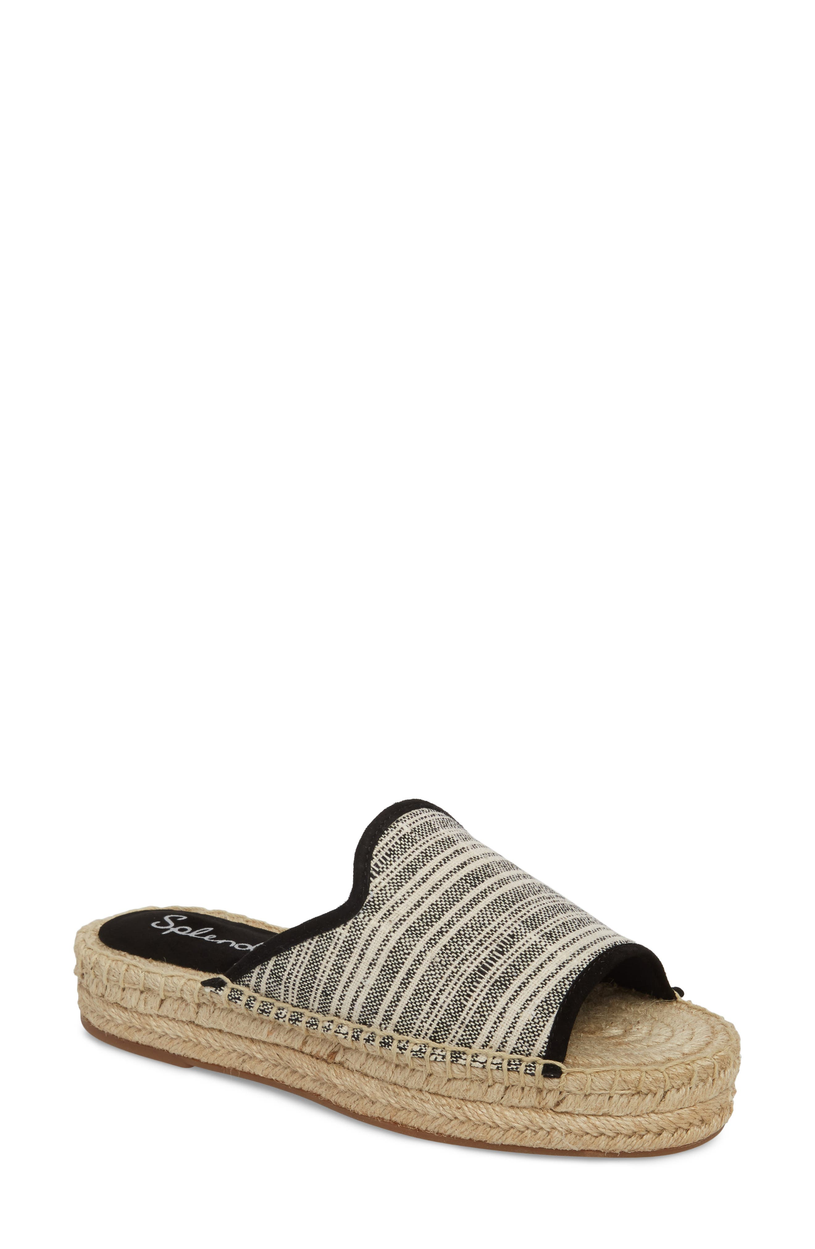 Franci Espadrille Slide Sandal,                         Main,                         color, BLACK/ NATURAL FABRIC