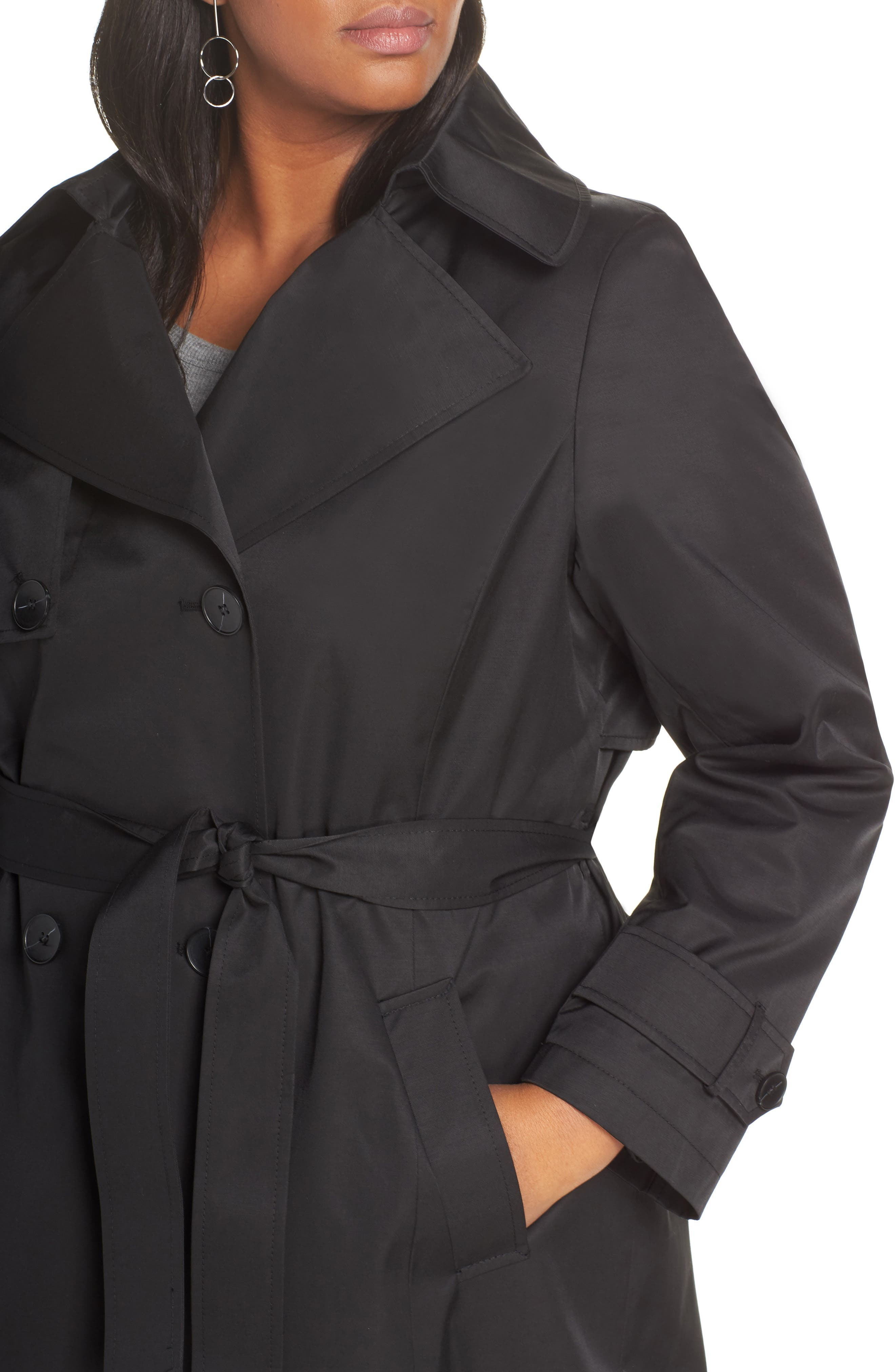 HALOGEN<SUP>®</SUP>,                             Double Breasted Hooded Trench Coat,                             Alternate thumbnail 4, color,                             BLACK
