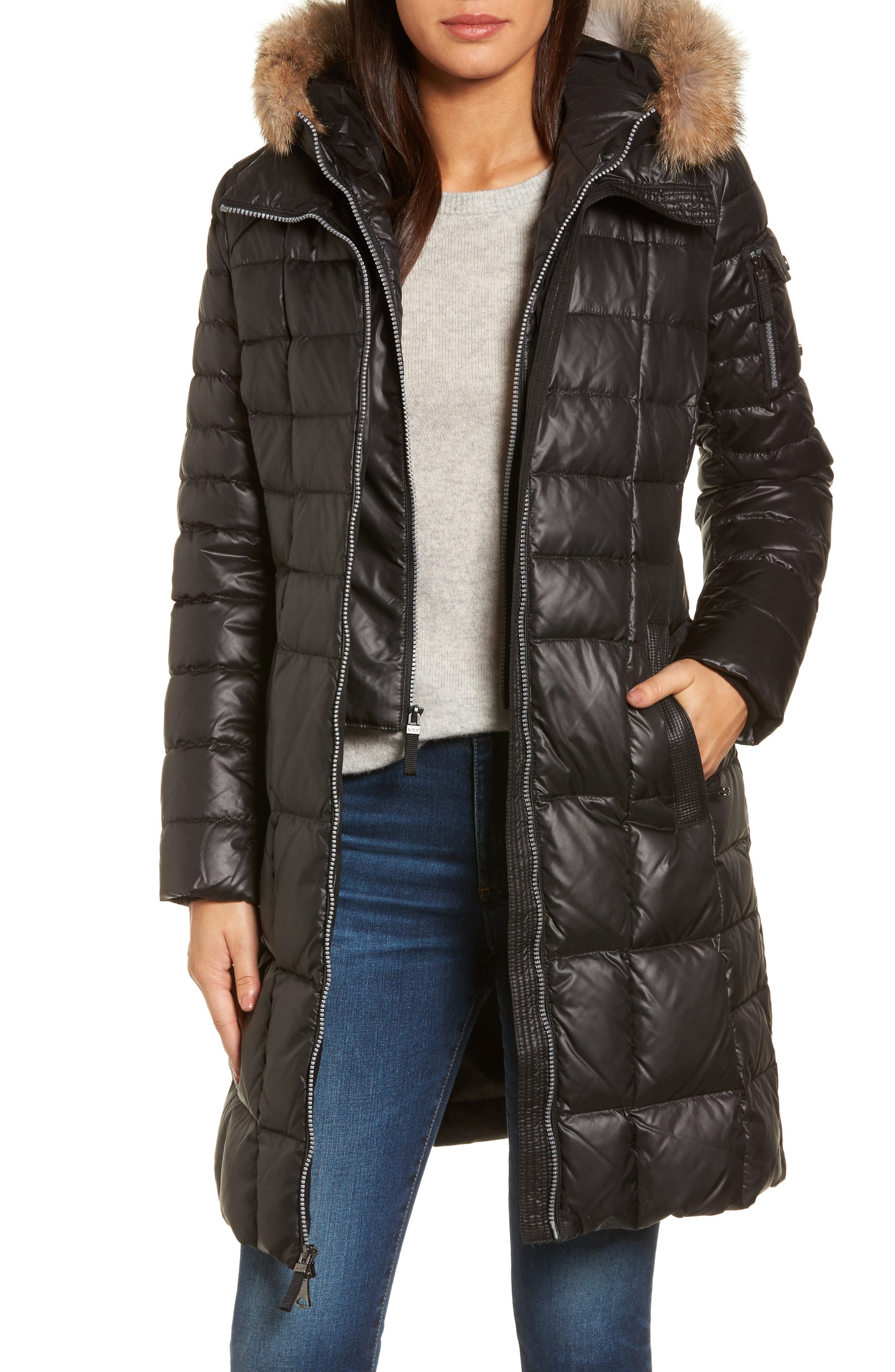 Quilted Coat with Genuine Coyote Fur,                             Main thumbnail 1, color,                             001