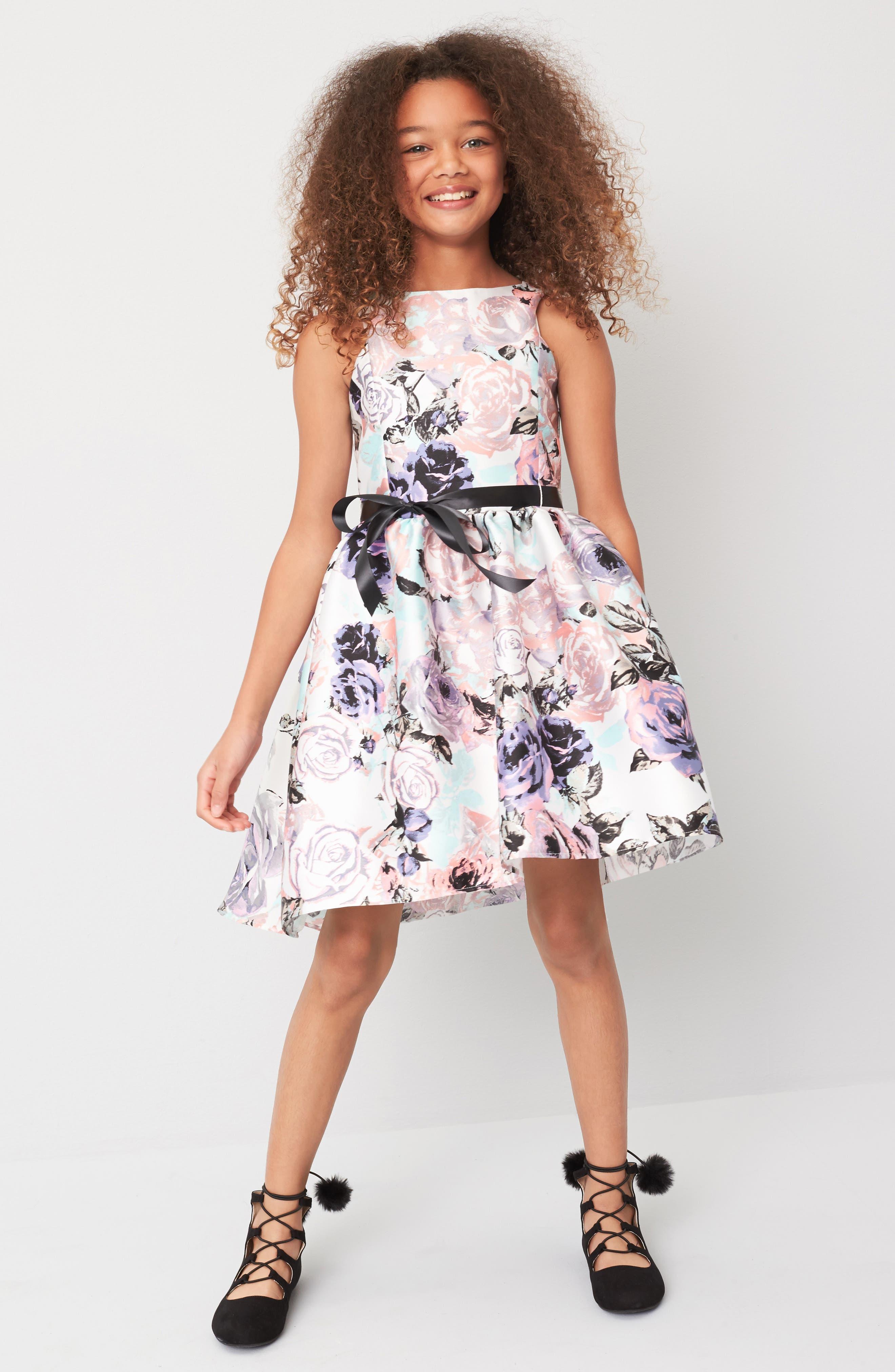Floral Print Party Dress,                             Alternate thumbnail 4, color,                             512