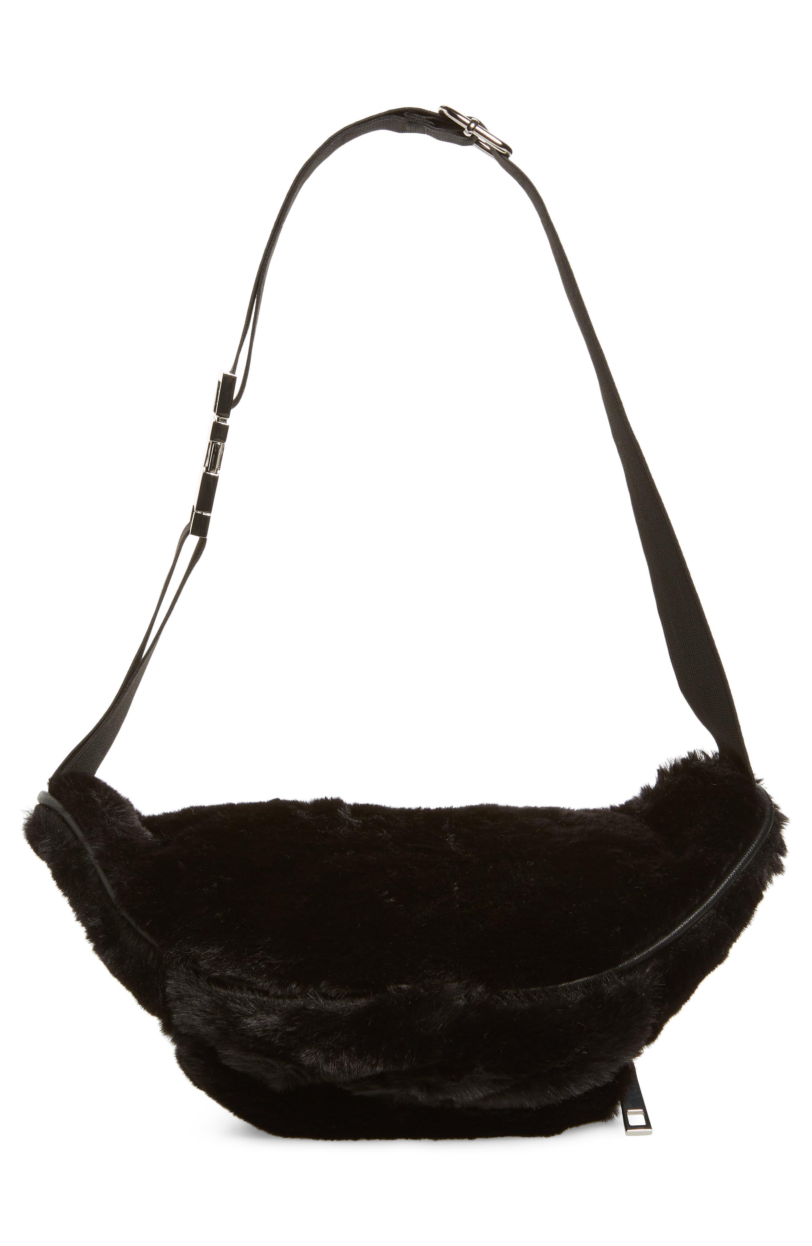 Jaida Faux Fur Belt Bag,                             Alternate thumbnail 7, color,                             BLACK