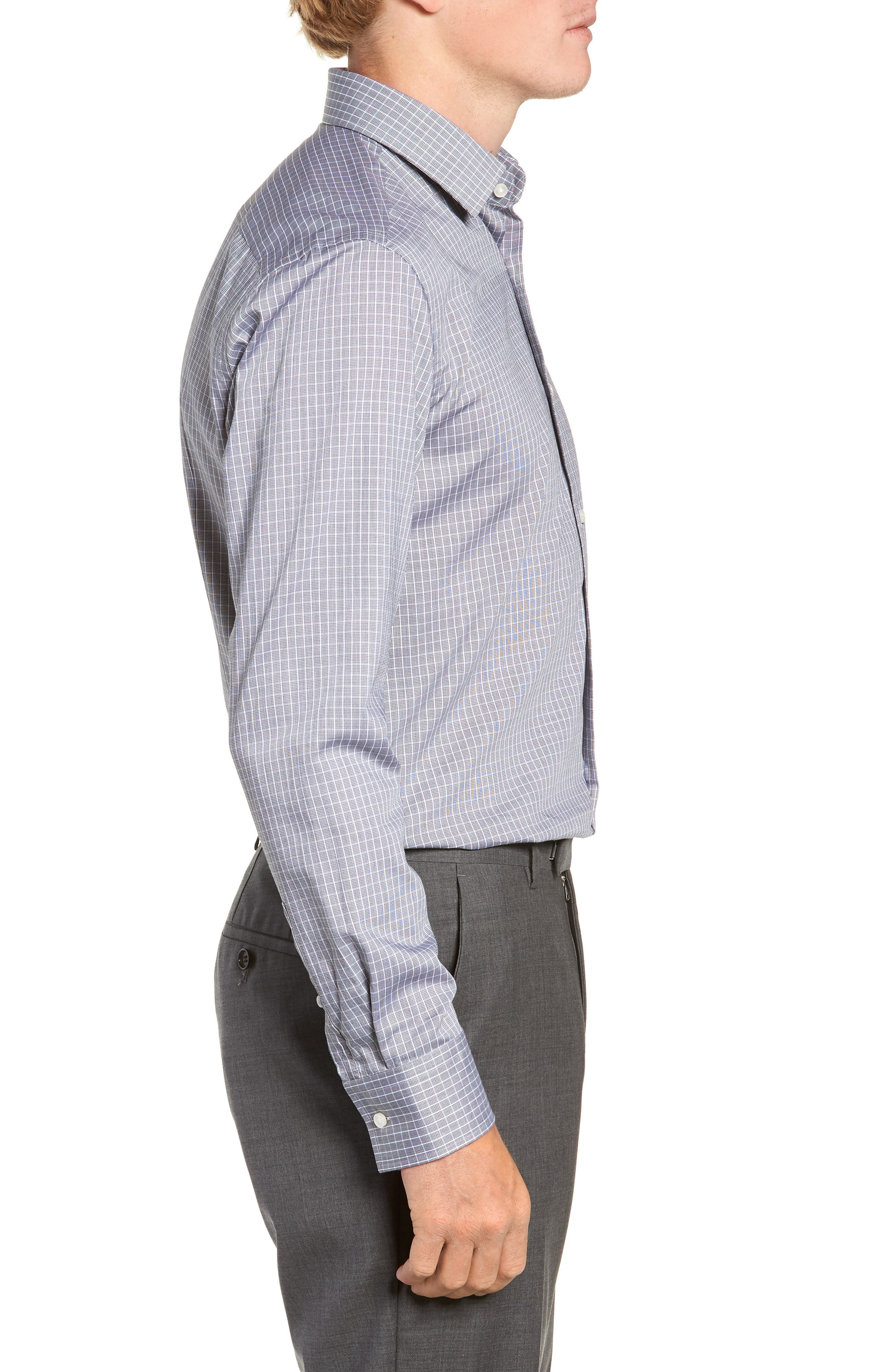 Jenno Trim Fit Check Dress Shirt,                             Alternate thumbnail 4, color,                             003