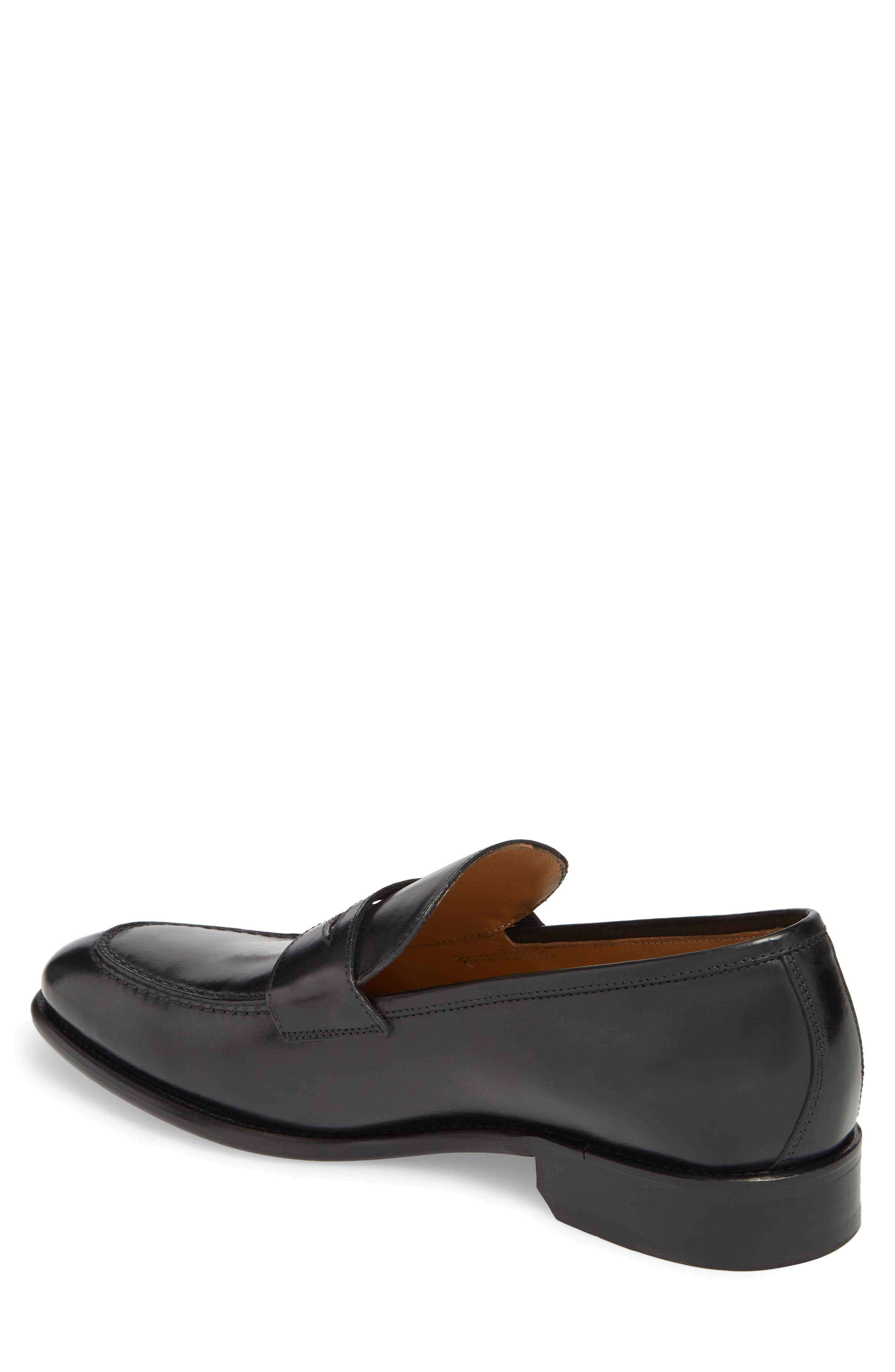 Imperial Venucci Apron Toe Penny Loafer,                             Alternate thumbnail 2, color,                             BLACK LEATHER