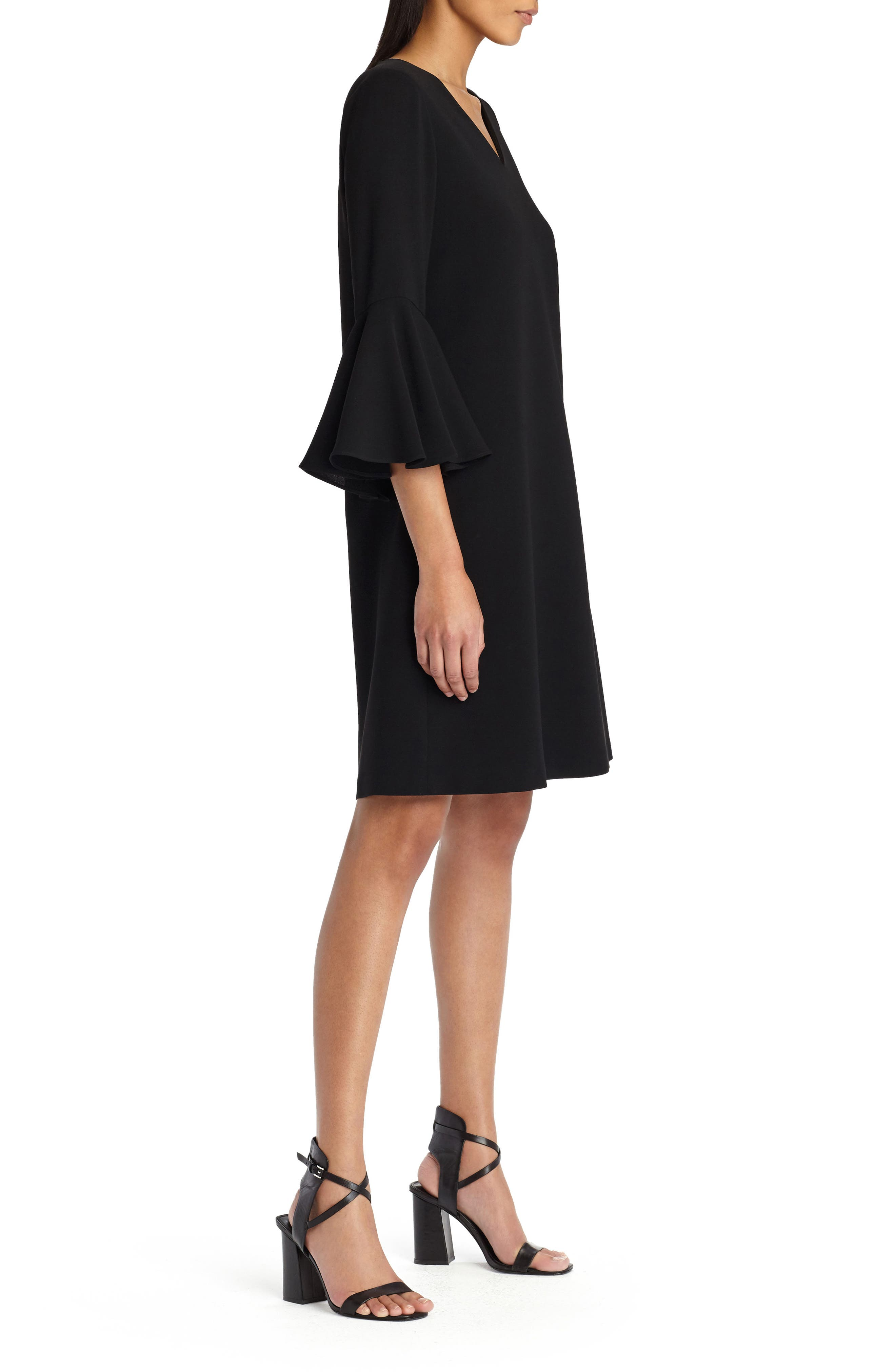 Holly Bell Sleeve Dress,                             Alternate thumbnail 3, color,                             001