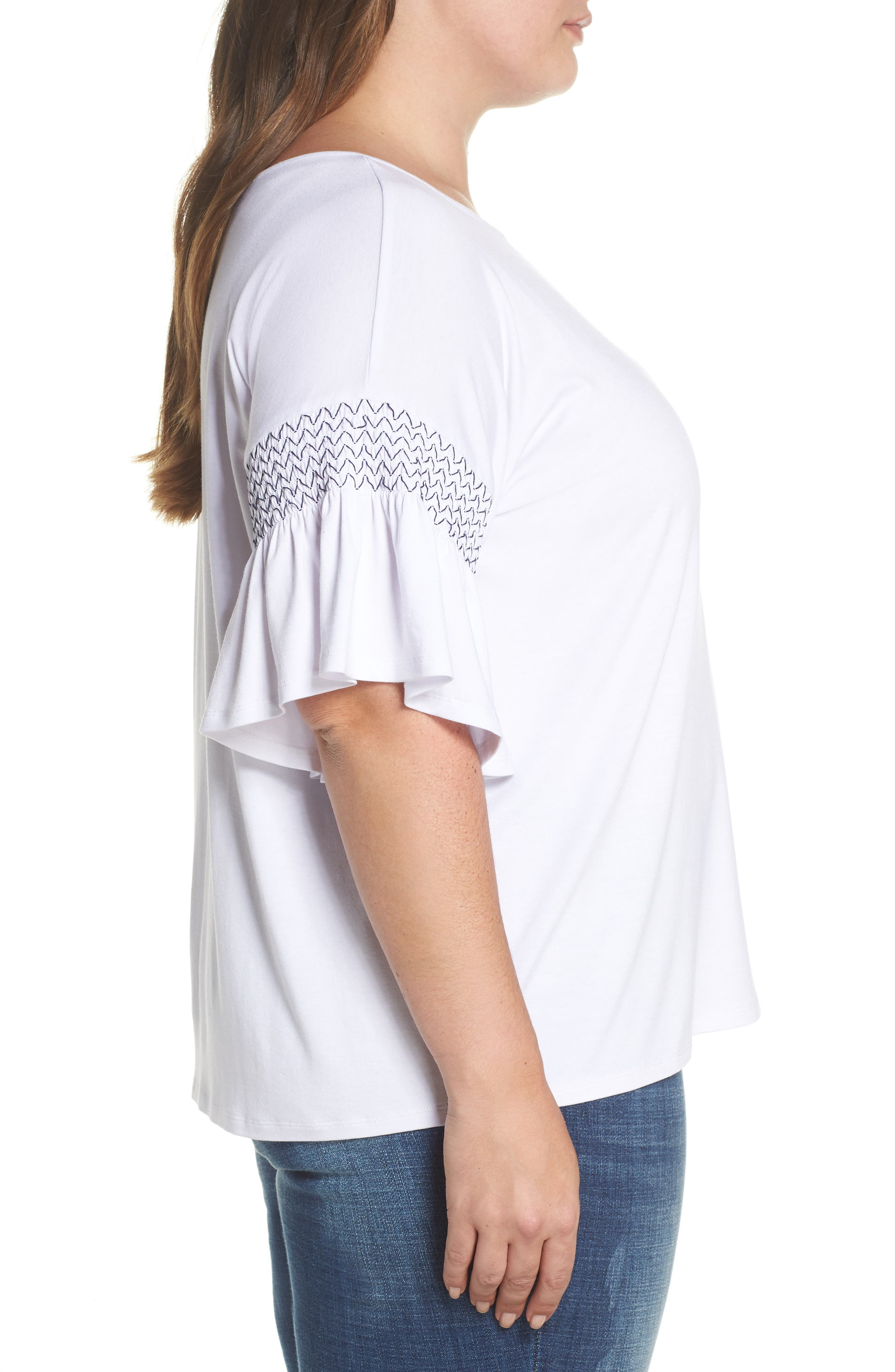 Dropped Smock Shoulder Ruffle Sleeve Top,                             Alternate thumbnail 3, color,                             ULTRA WHITE
