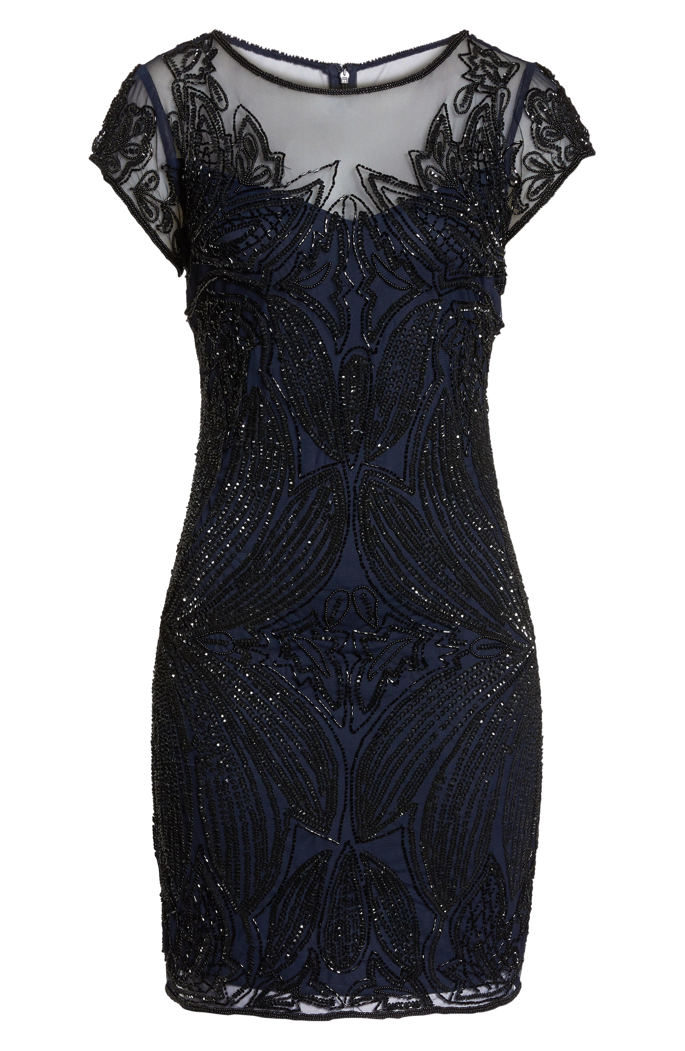 Beaded Illusion Yoke Sheath Dress,                             Alternate thumbnail 7, color,                             NAVY BLACK