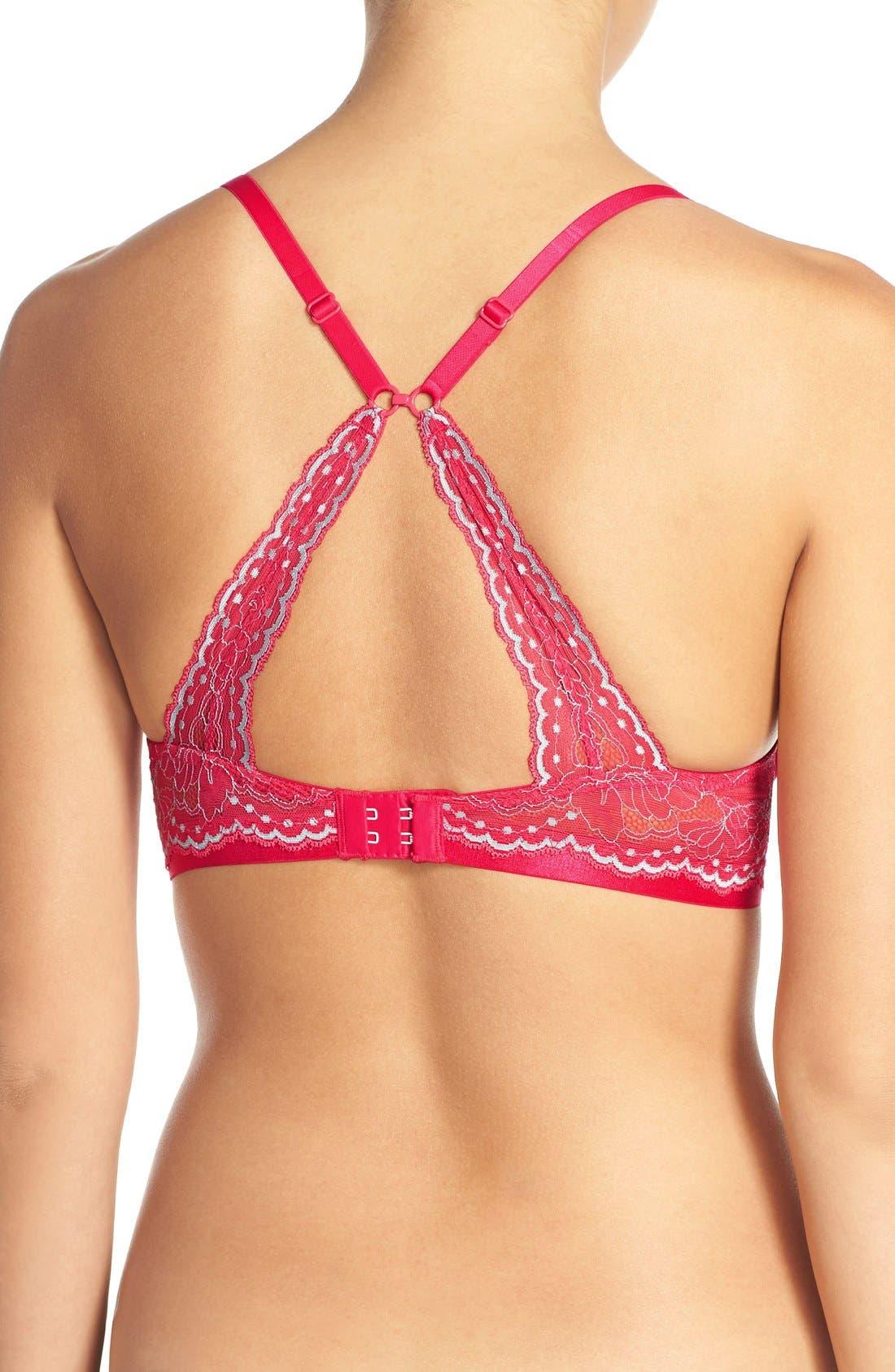 'Beautifully Basic' Lace Trim Underwire Plunge Bra,                             Alternate thumbnail 40, color,