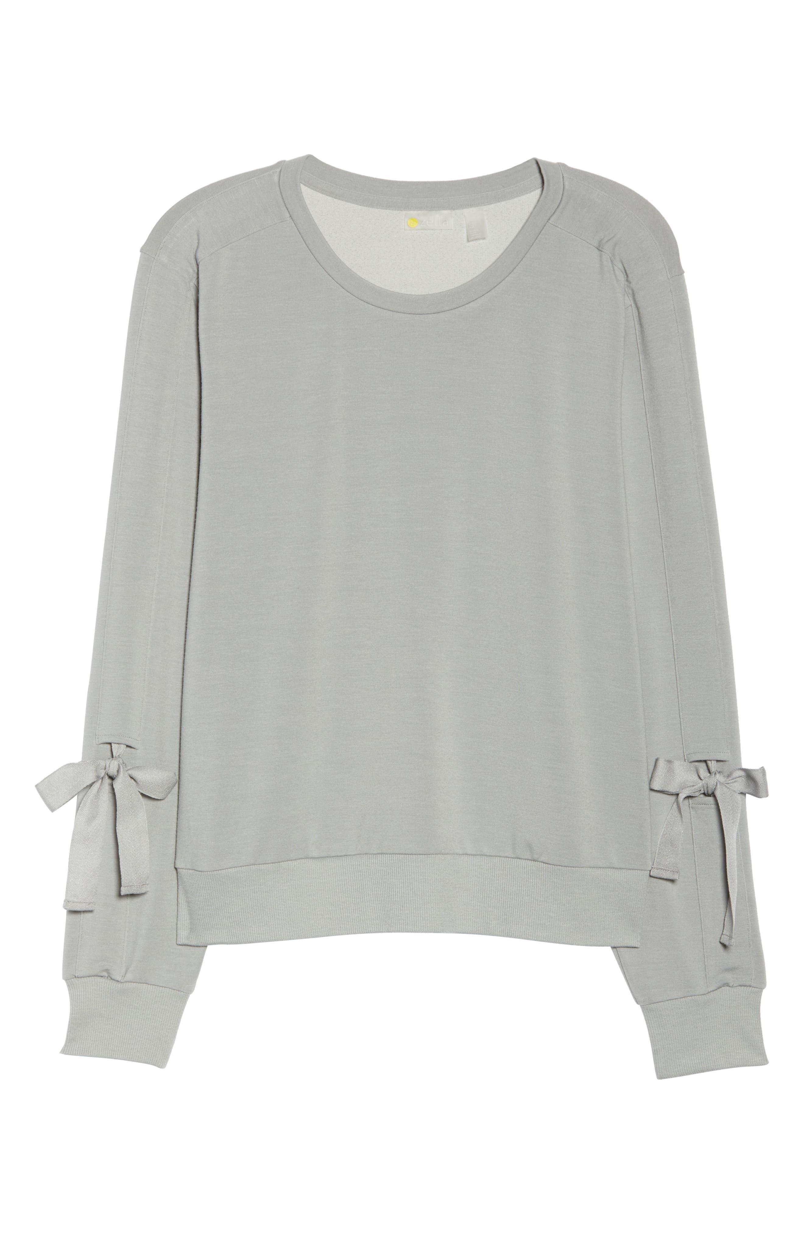 Gather Sleeve Sweatshirt,                             Alternate thumbnail 7, color,                             GREY WOLF