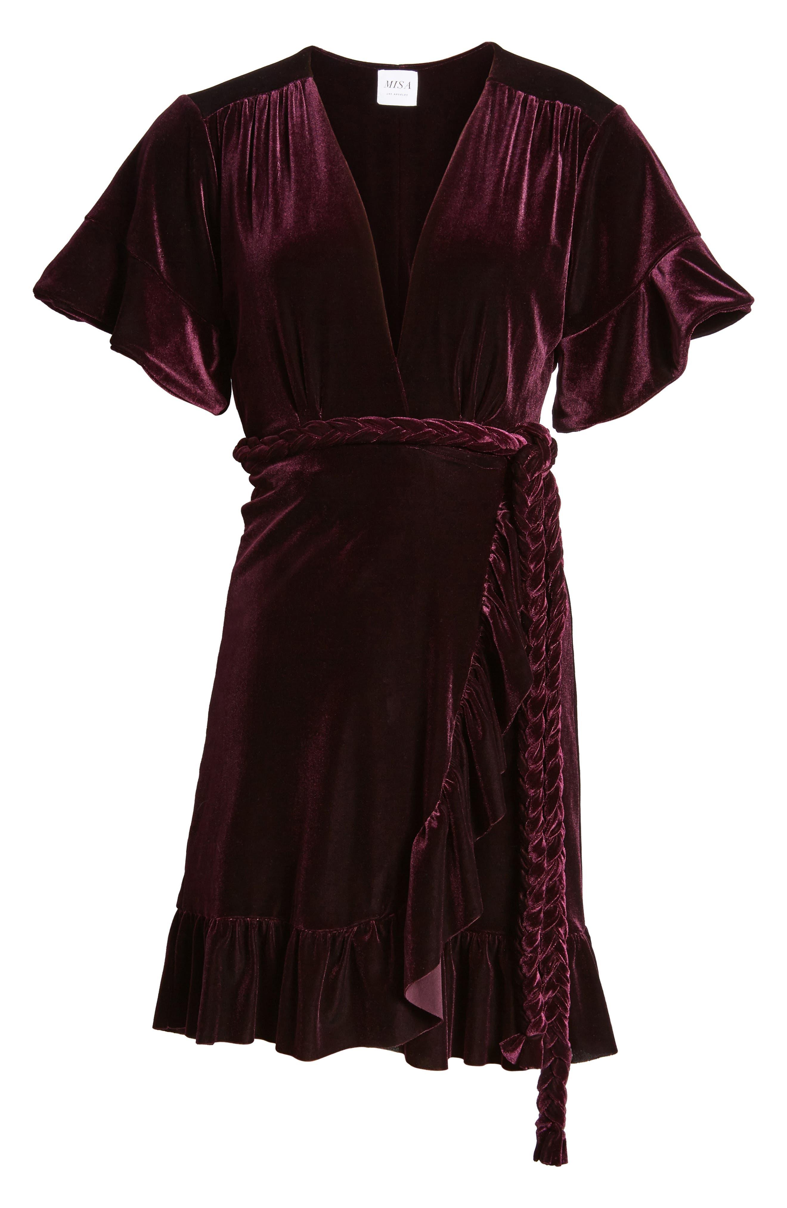 Desma Velvet Wrap Dress,                             Alternate thumbnail 6, color,                             505