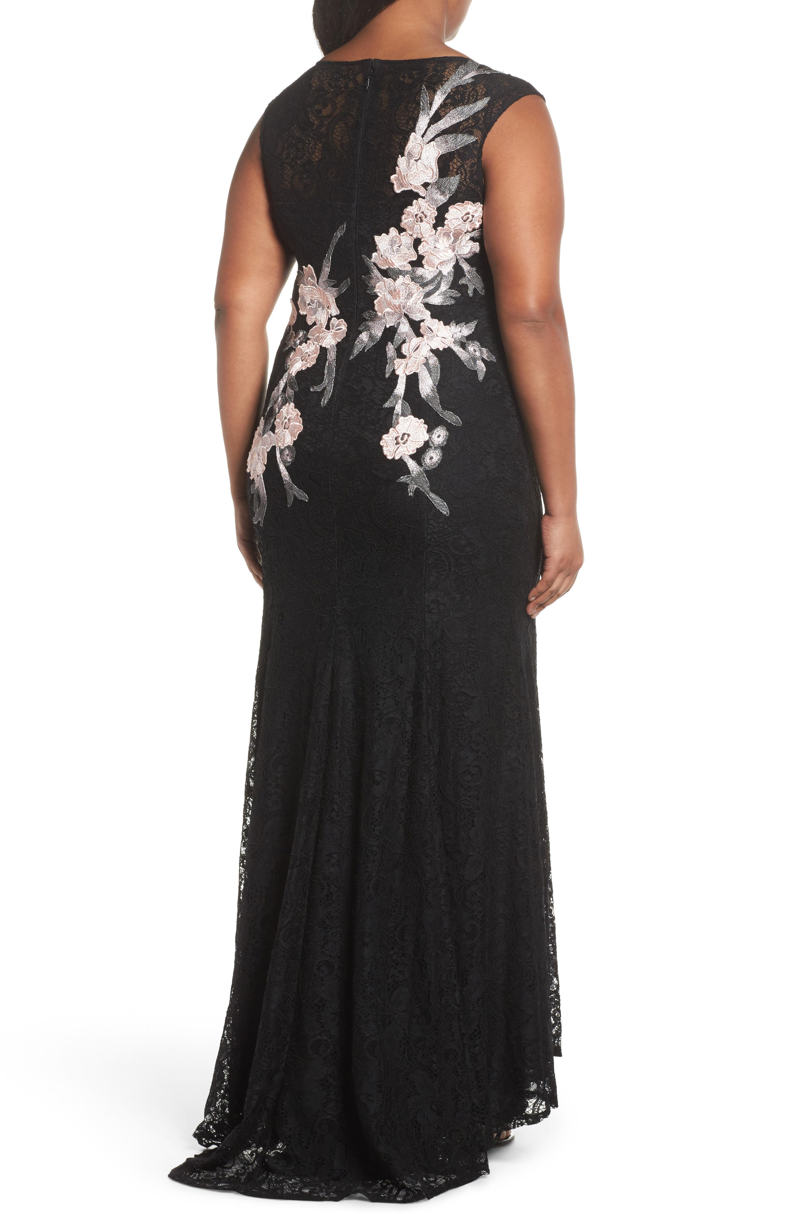 Floral Embroidered Lace Gown,                             Alternate thumbnail 2, color,                             BLACK/ BLUSH