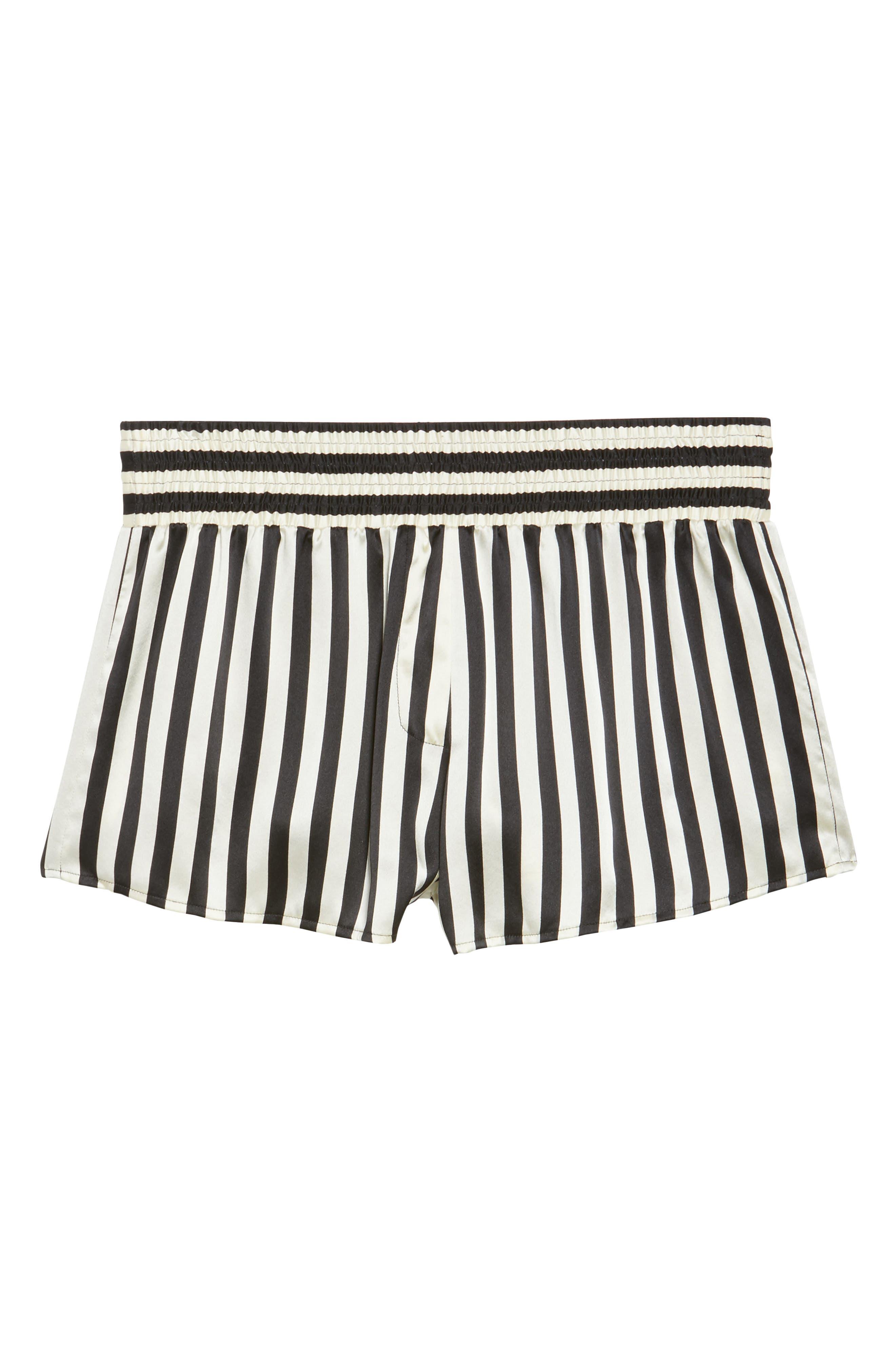 x Amanda Fatherazi Mini Mask Corey Stripe Silk Shorts,                             Alternate thumbnail 6, color,                             004