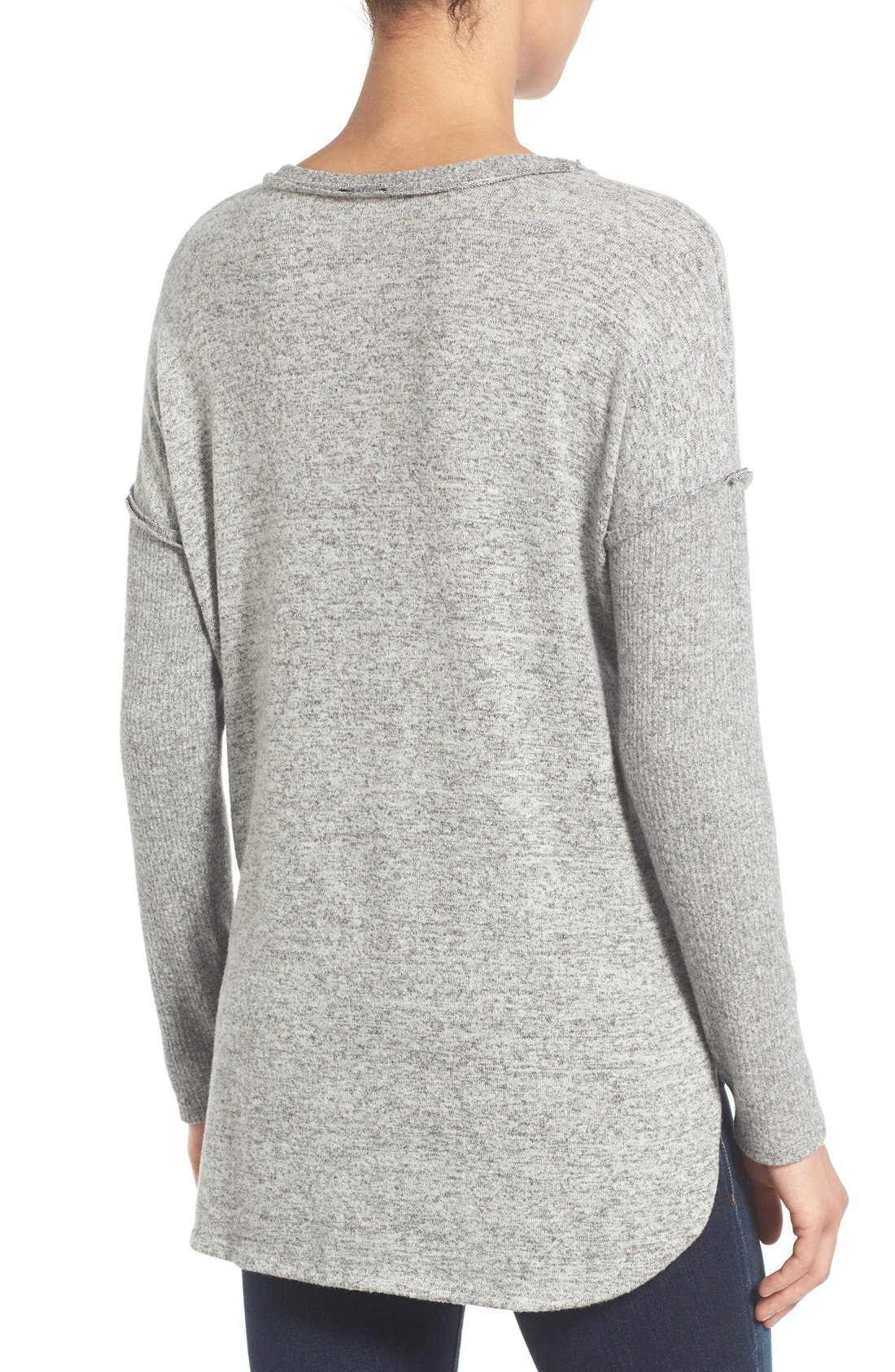 Rib Long Sleeve Fuzzy Top,                             Alternate thumbnail 2, color,                             LIGHT HEATHER GREY