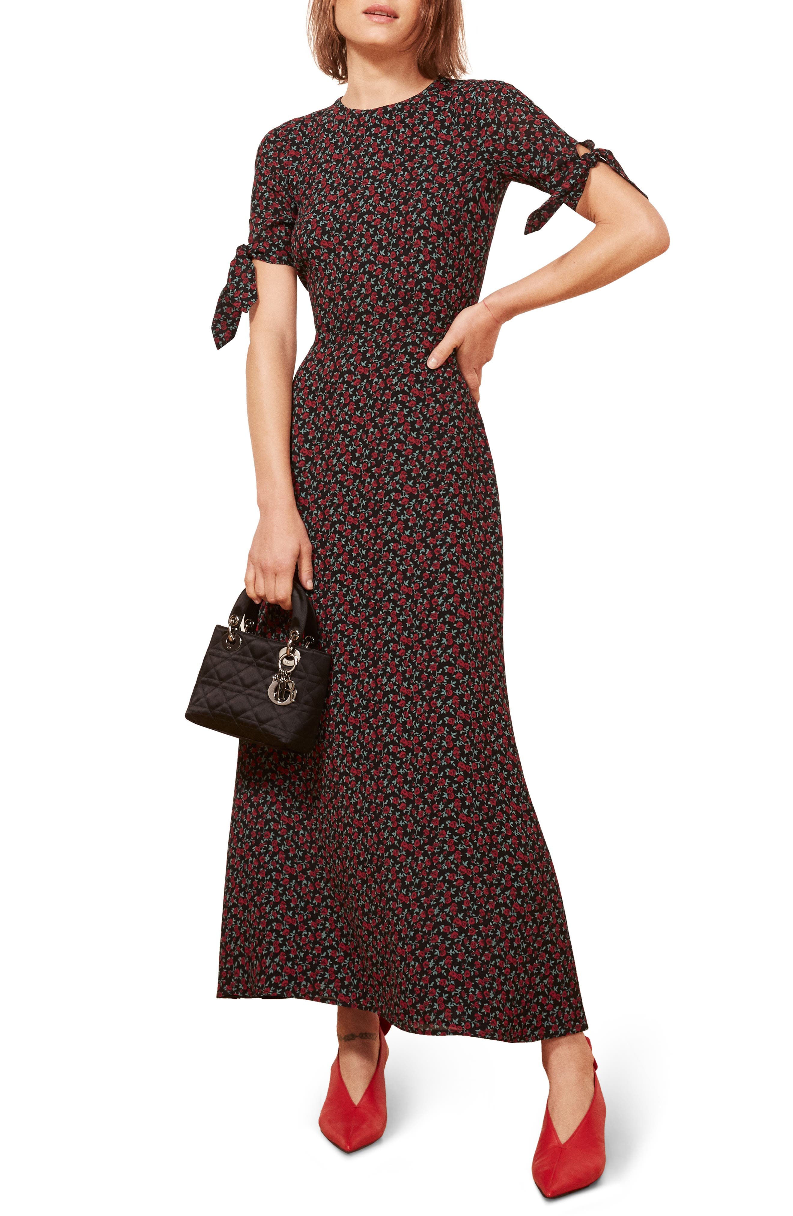Amsterdam Tie Sleeve Body-Con Maxi Dress,                             Main thumbnail 1, color,                             001