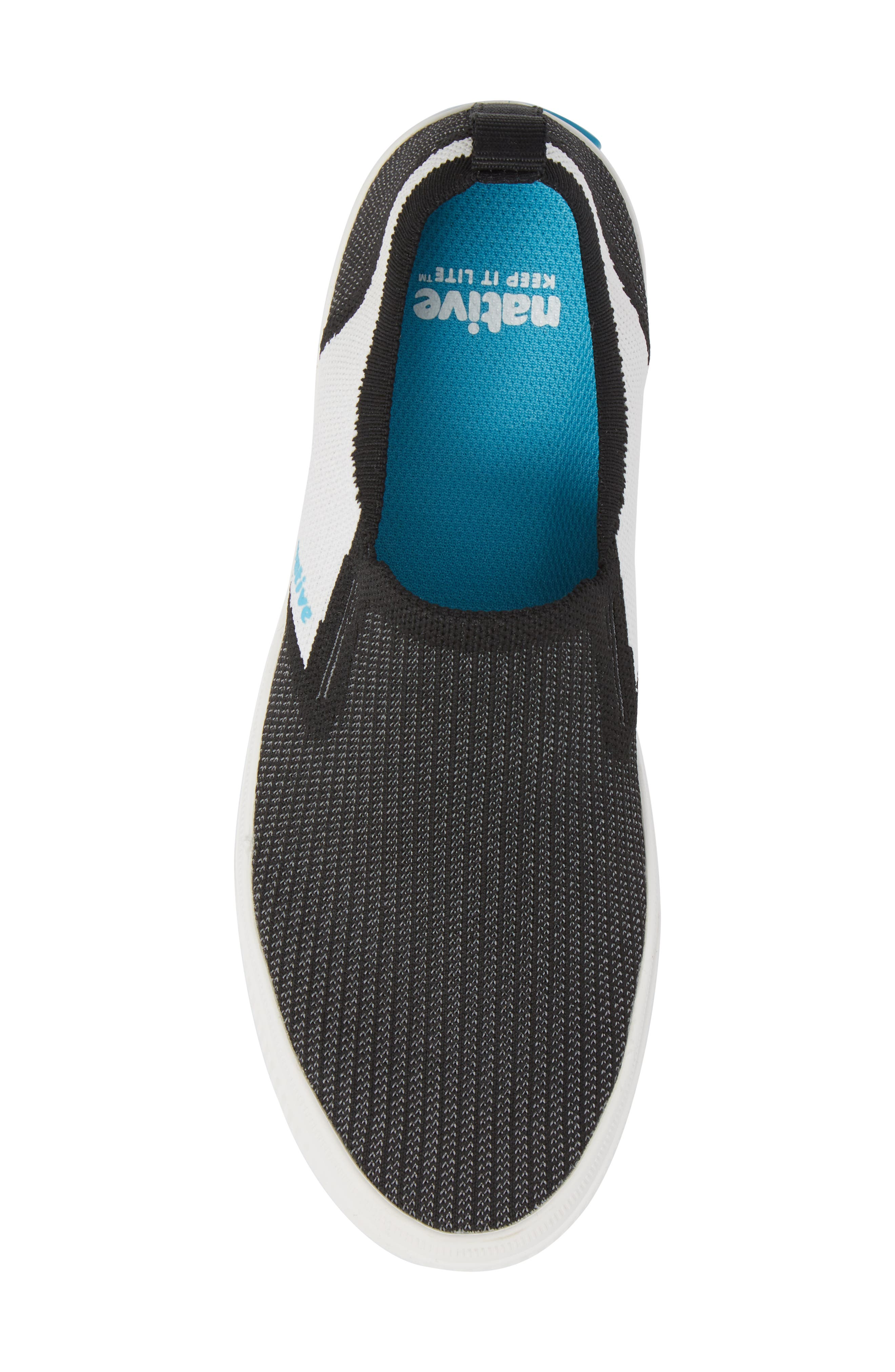 Miles Liteknit Slip-On Sneaker,                             Alternate thumbnail 5, color,                             JIFFY BLACK/ SHELL WHITE