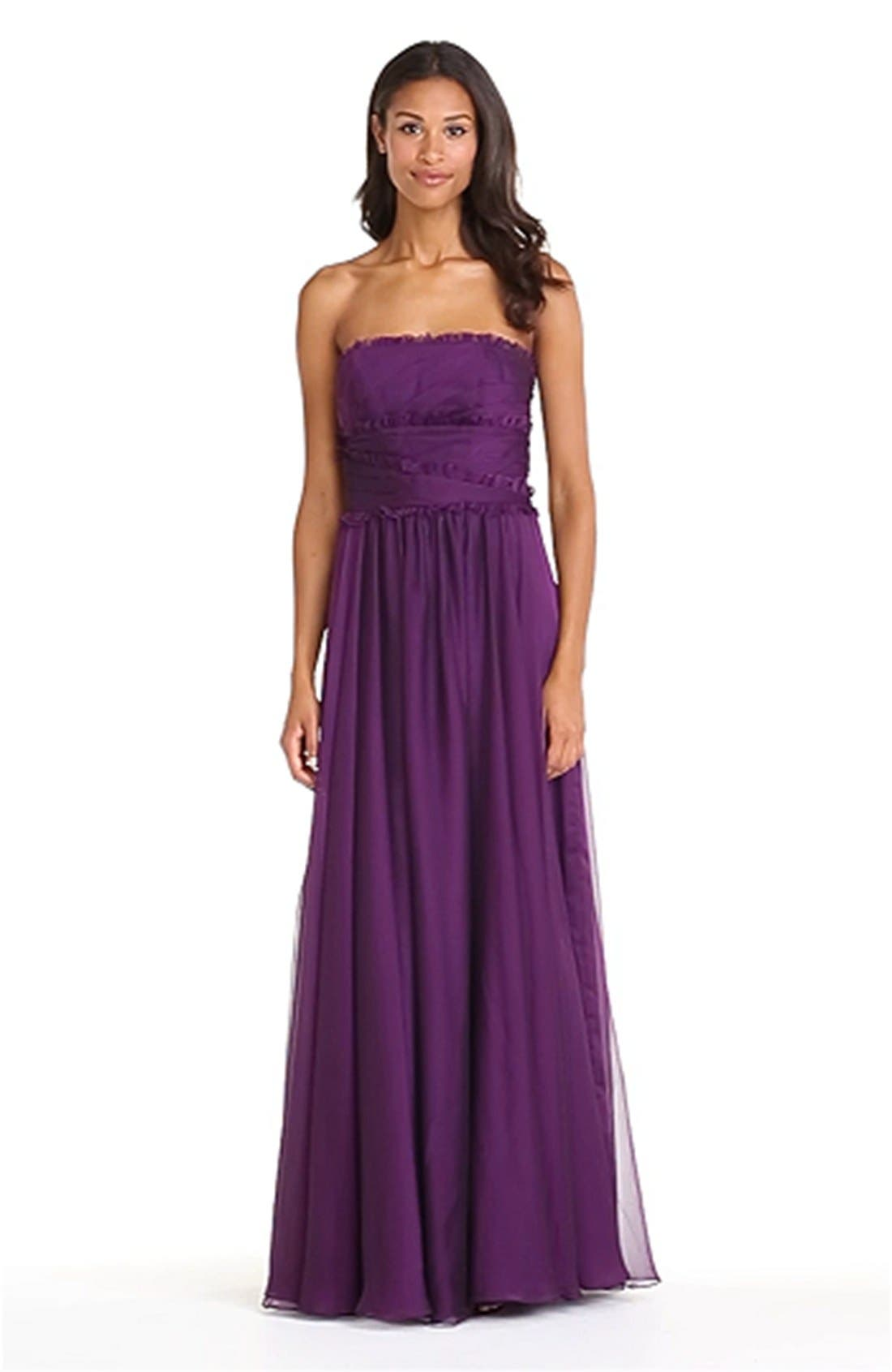 ML Monique Lhuillier Bridesmaids Strapless Chiffon Gown,                             Alternate thumbnail 41, color,
