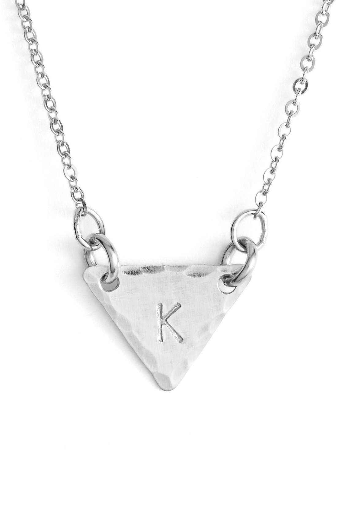 Sterling Silver Initial Mini Triangle Necklace,                             Main thumbnail 11, color,