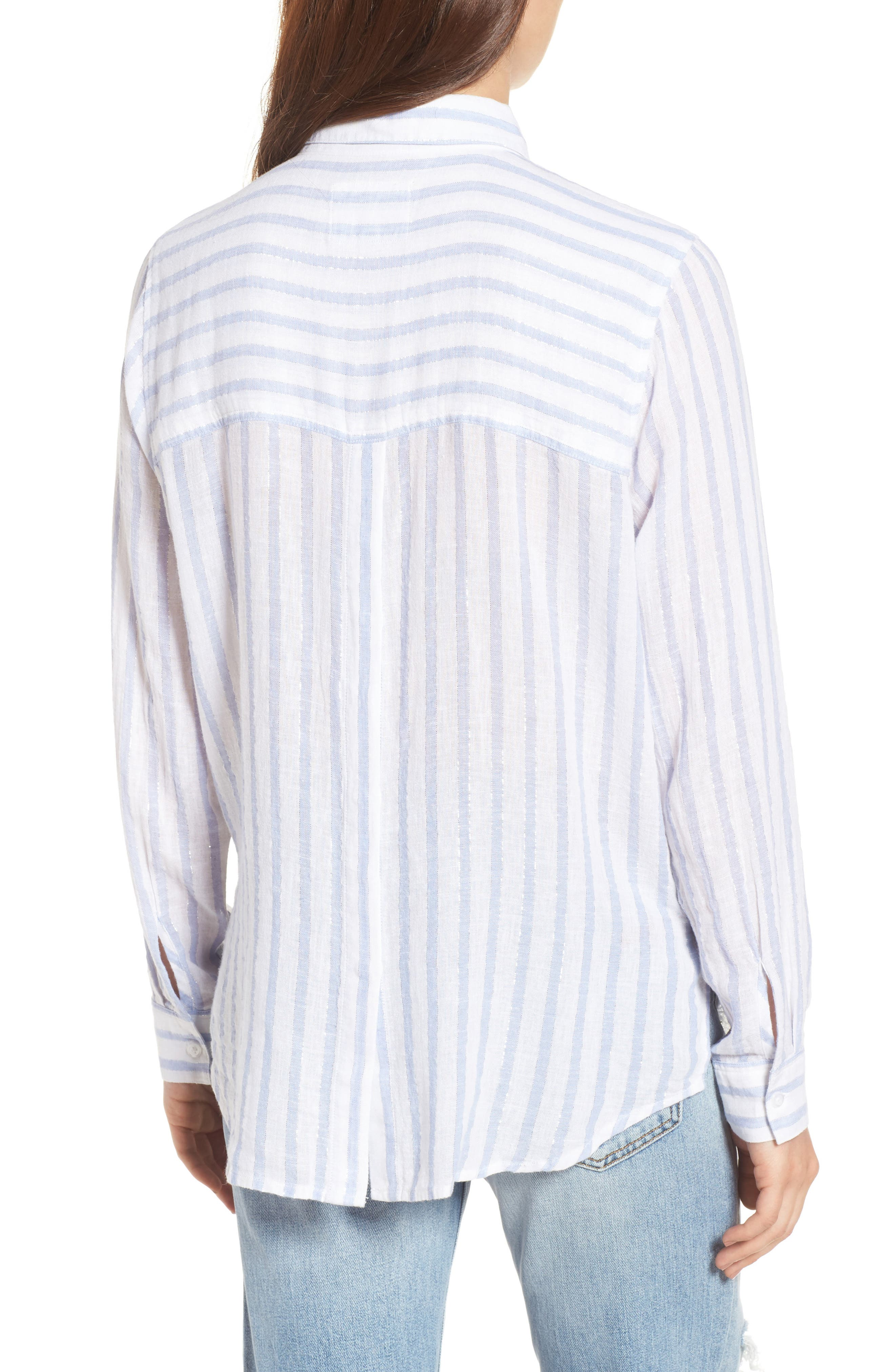 Sydney Vertical Shimmer Stripe Linen Blend Shirt,                             Alternate thumbnail 2, color,                             473