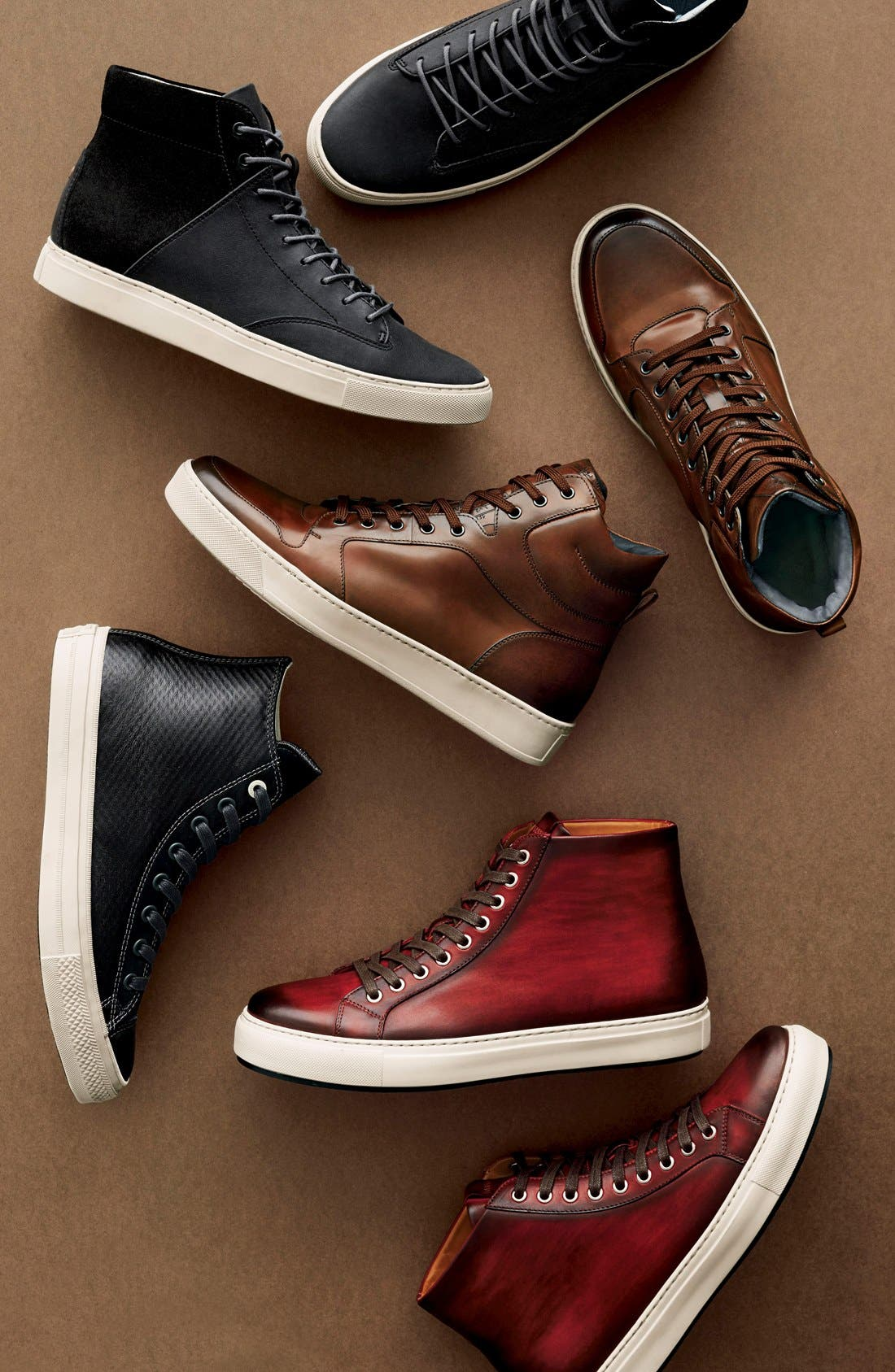 Brando High Top Sneaker,                             Alternate thumbnail 5, color,                             RED
