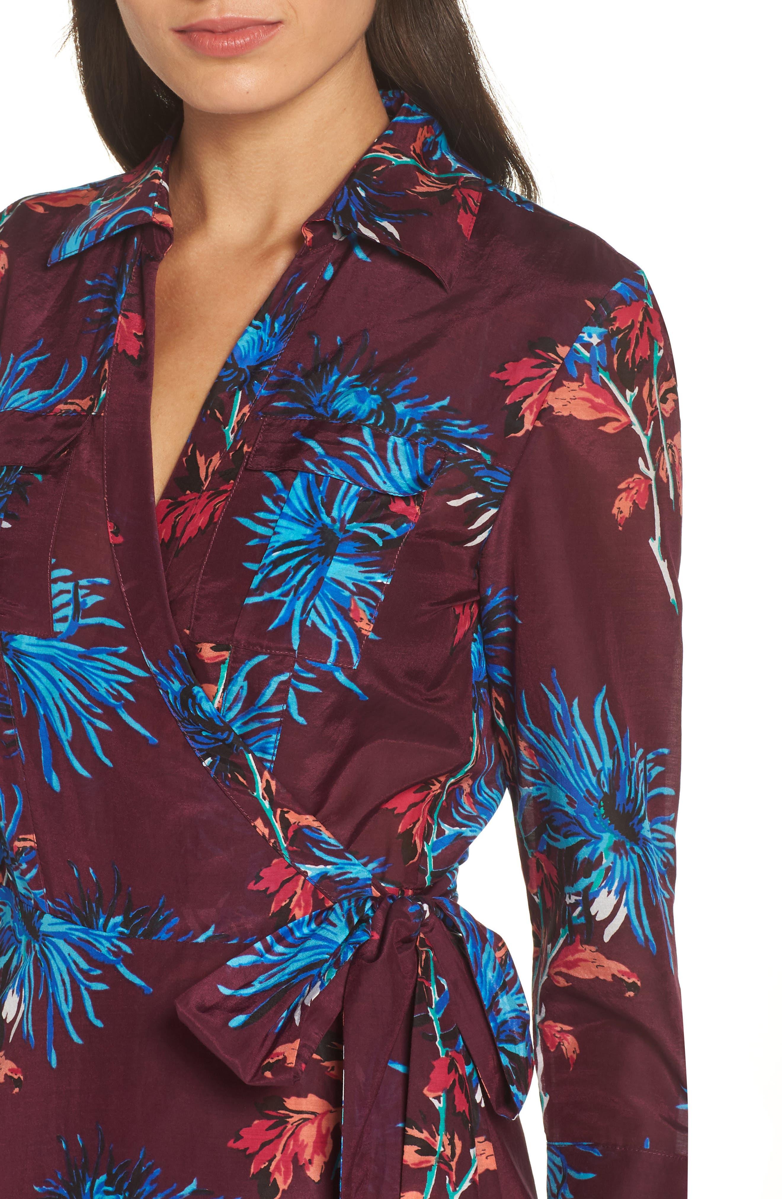 Long Cover-Up Wrap Dress,                             Alternate thumbnail 4, color,                             BURGUNDY