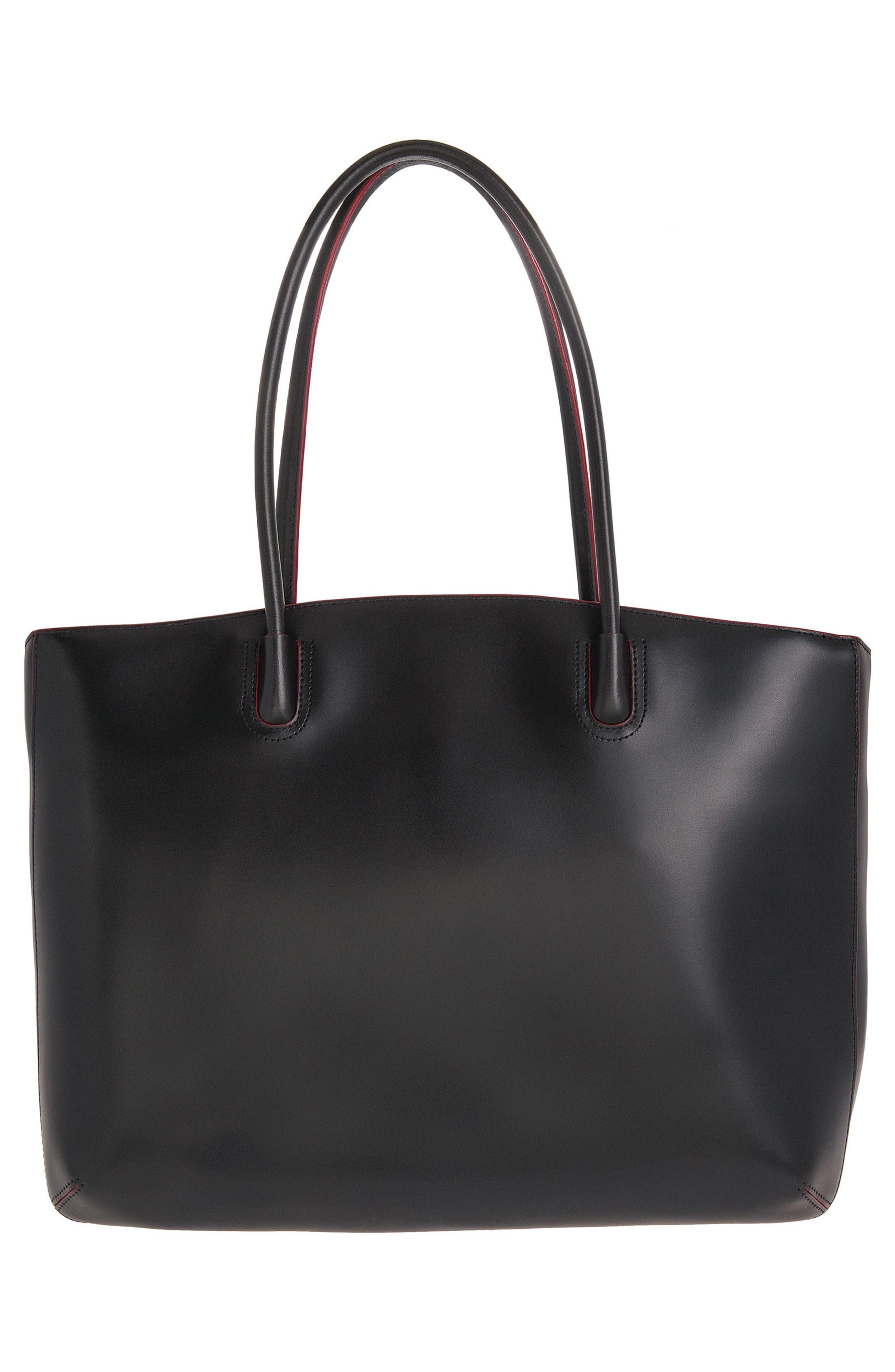 Audrey Under Lock & Key - Milano RFID Leather Tote,                             Alternate thumbnail 2, color,                             BLACK