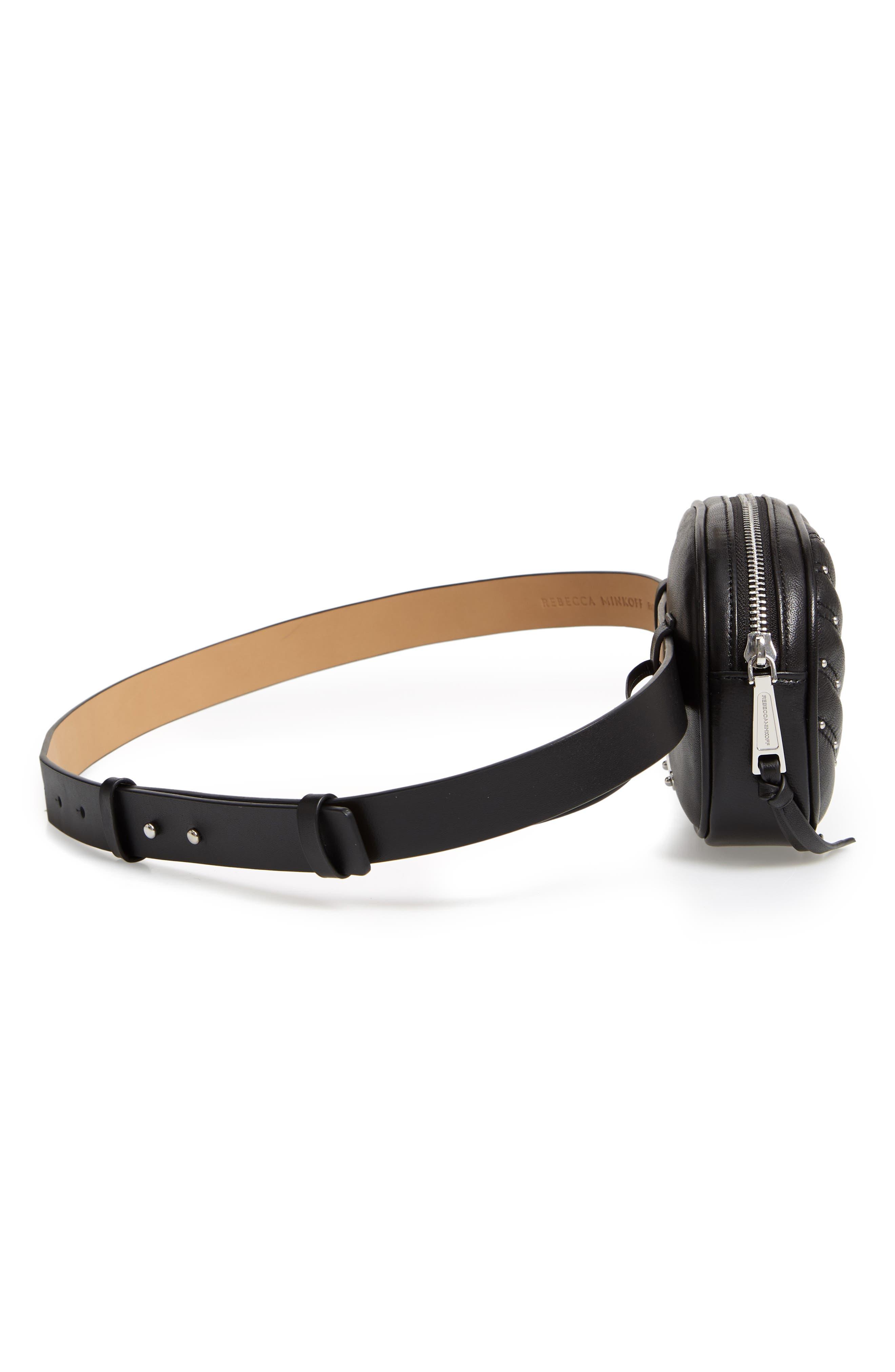 Montse Quilted Leather Belt Beg,                             Alternate thumbnail 6, color,                             BLACK