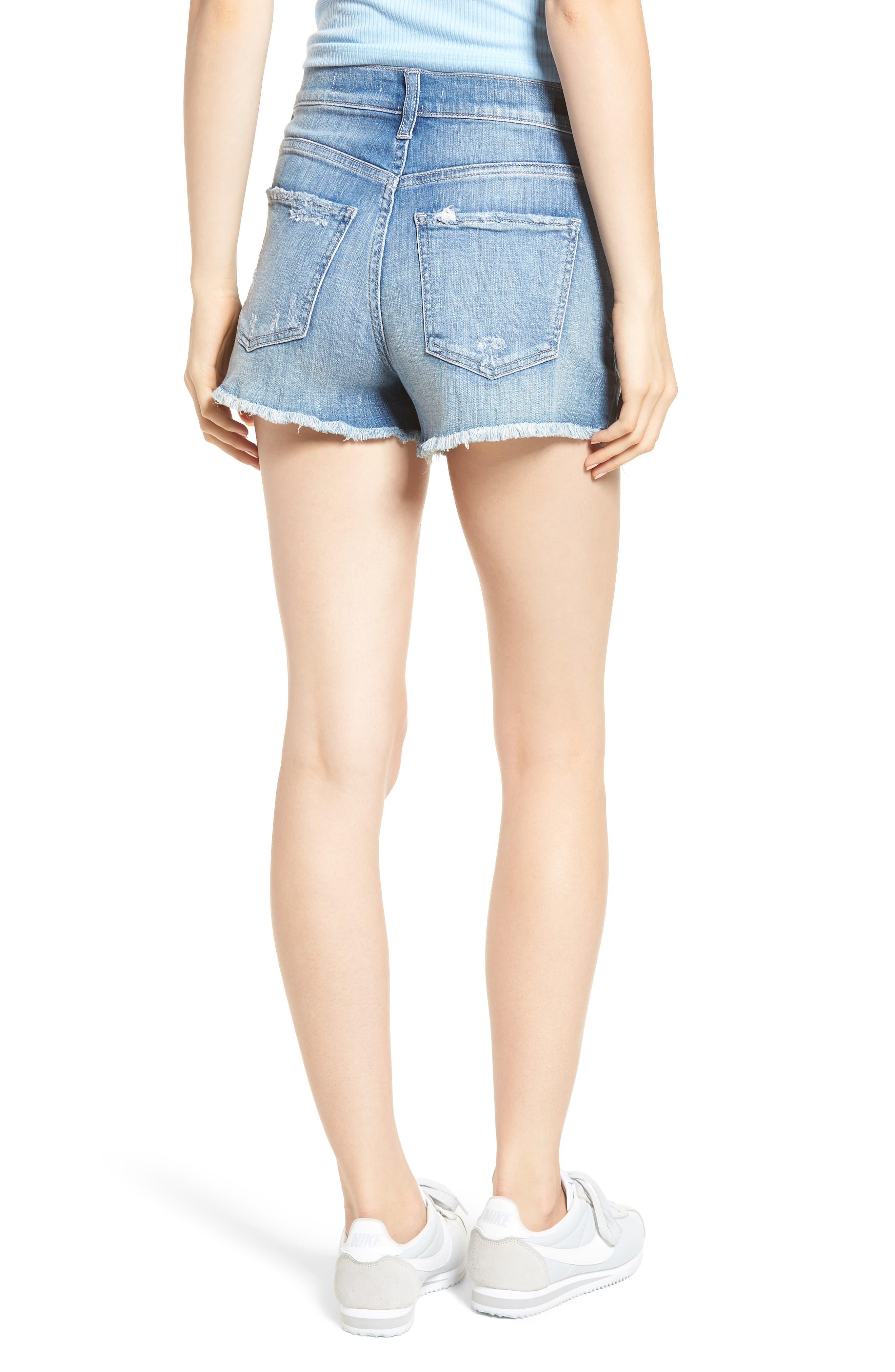 High Waist Frayed Hem Shorts,                             Alternate thumbnail 2, color,
