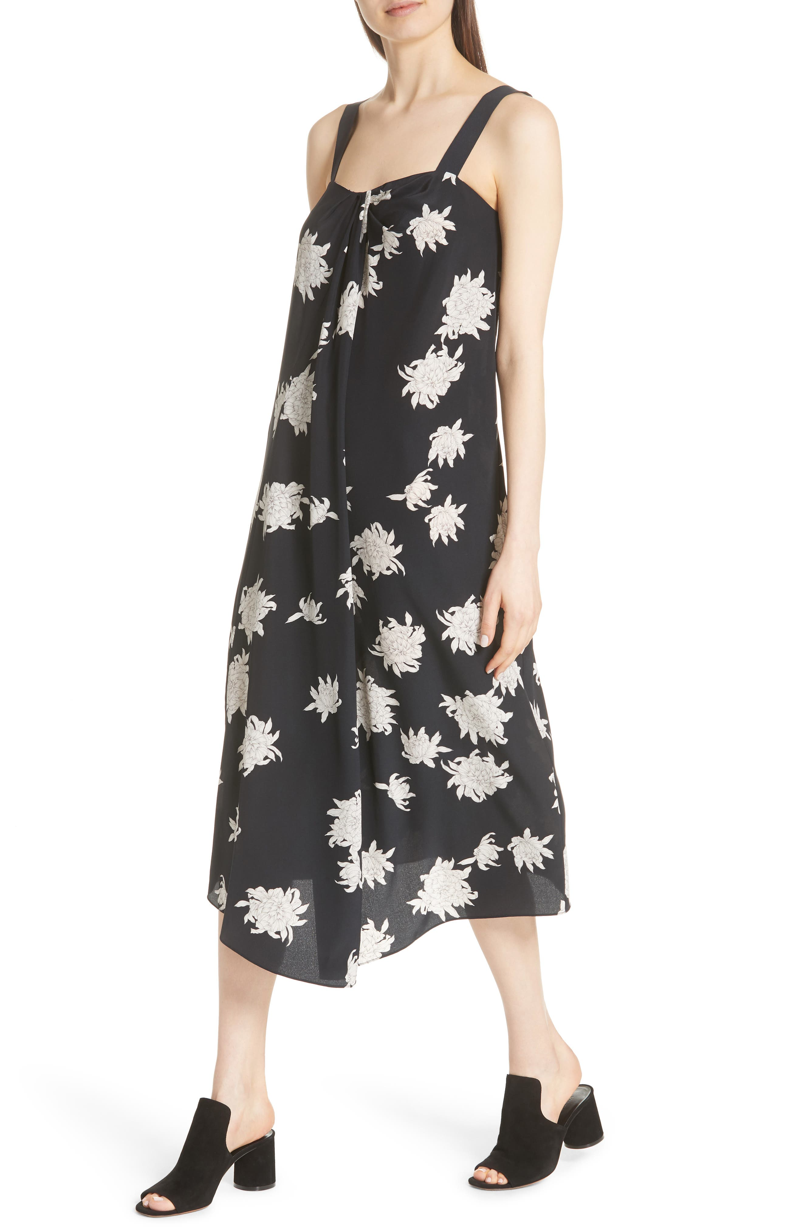 Chrysanthemum Print Silk Midi Dress,                             Alternate thumbnail 4, color,                             COASTAL