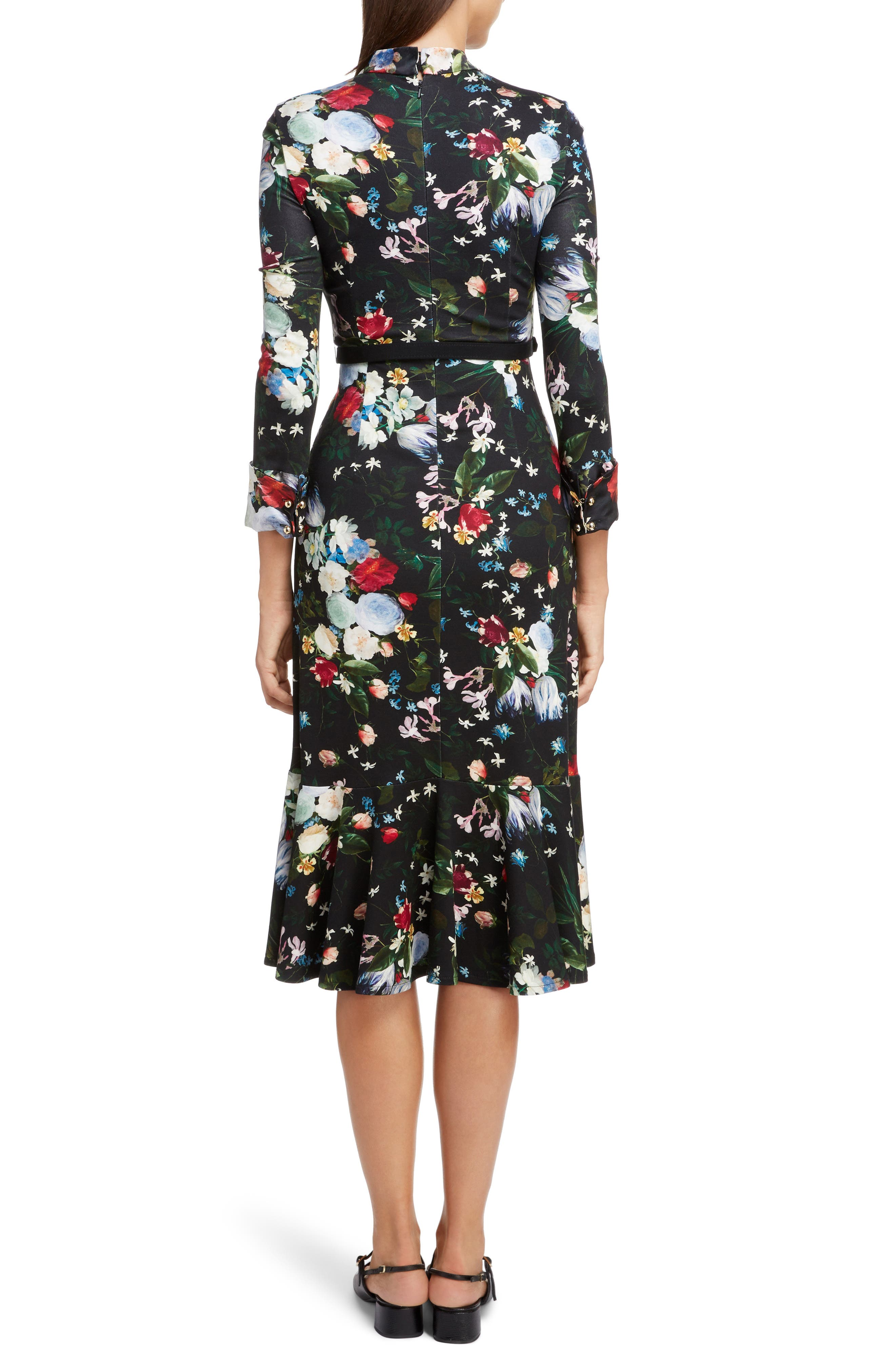 Floral Ponte Jersey Tie Neck Dress,                             Alternate thumbnail 2, color,                             BLACK/ MULTI