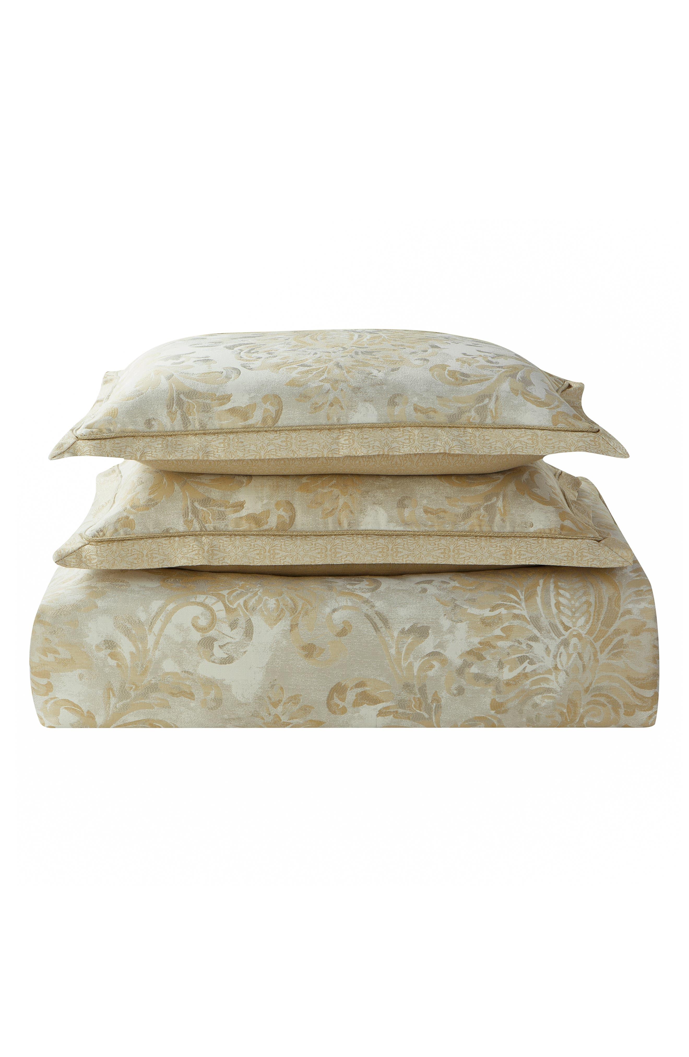 Annalise Reversible Comforter, Sham & Bed Skirt Set,                             Alternate thumbnail 5, color,                             GOLD