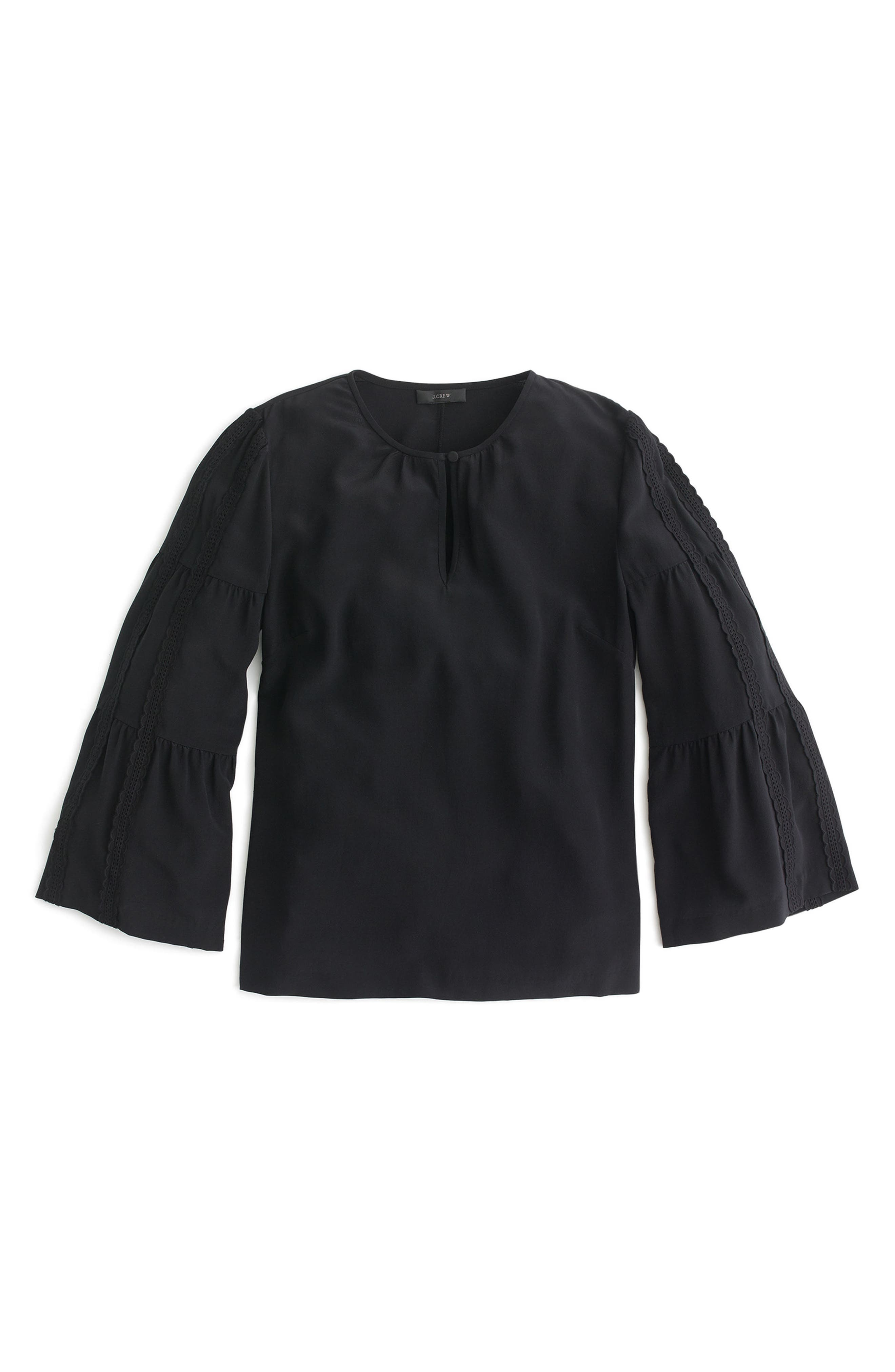 Embroidered Bell Sleeve Silk Top,                             Alternate thumbnail 6, color,