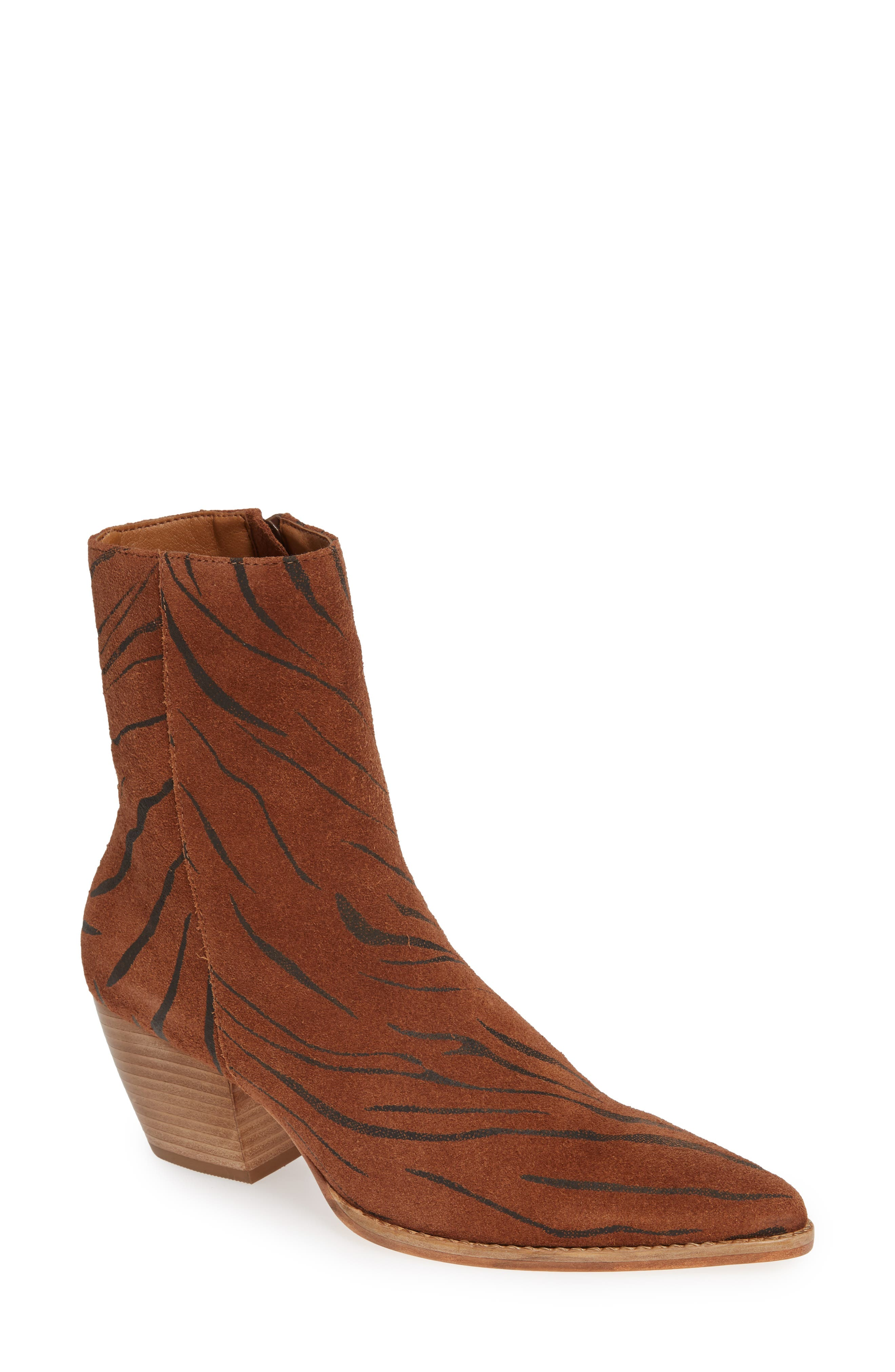 Caty Western Pointy Toe Bootie,                             Main thumbnail 1, color,                             TIGER SUEDE