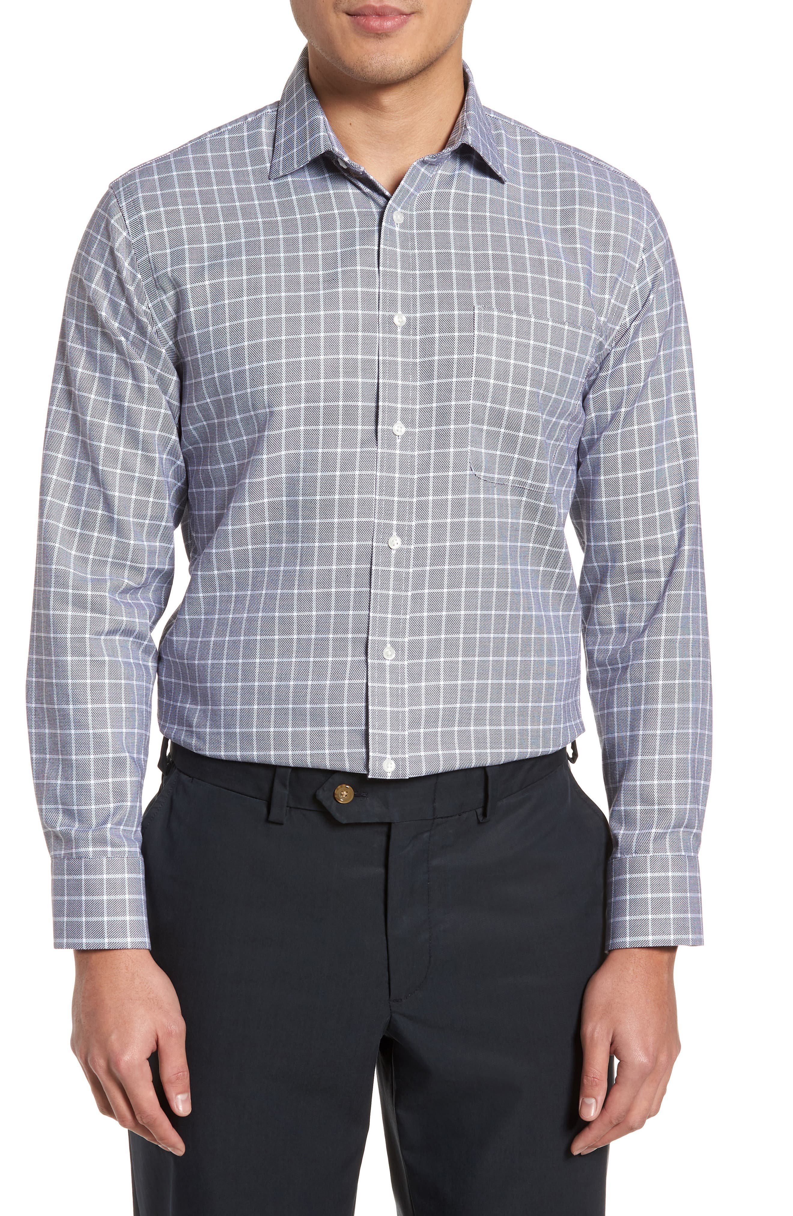 NORDSTROM MEN'S SHOP Trim Fit Non-Iron Check Dress Shirt, Main, color, 001