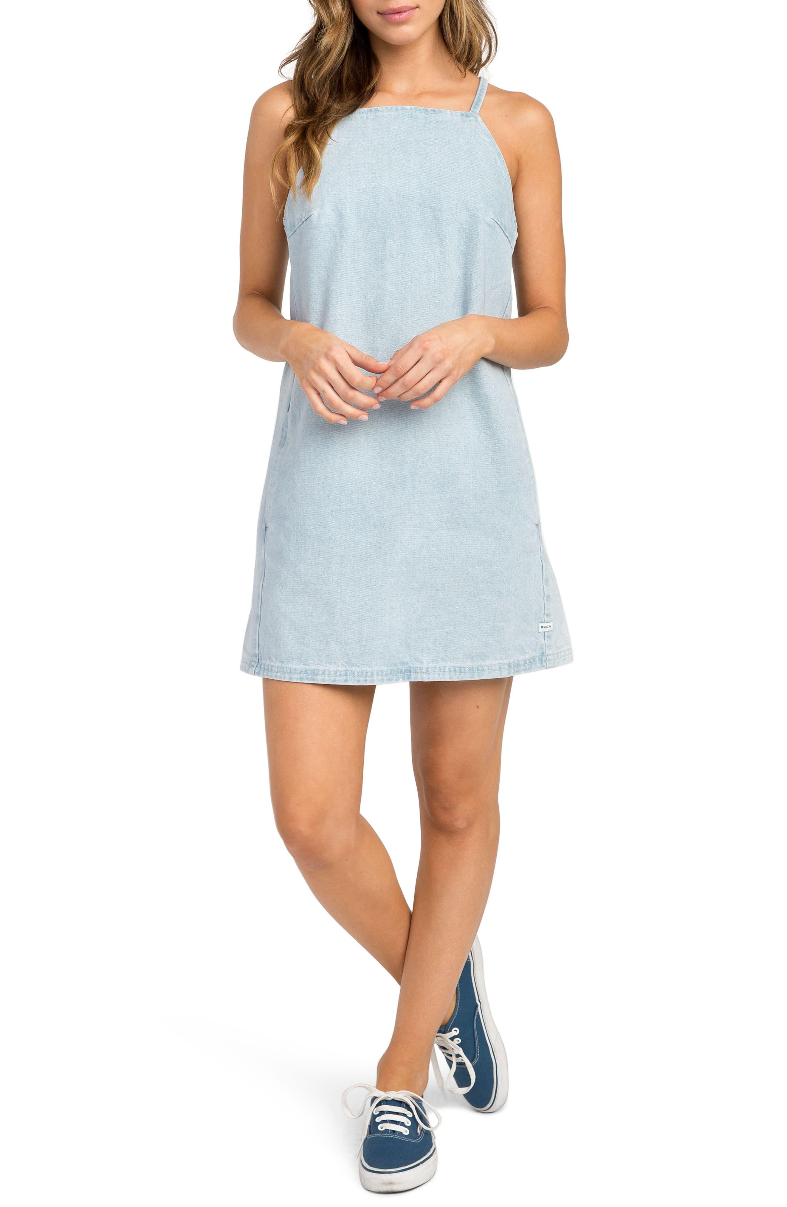 Maple Denim Apron Dress,                         Main,                         color, 401