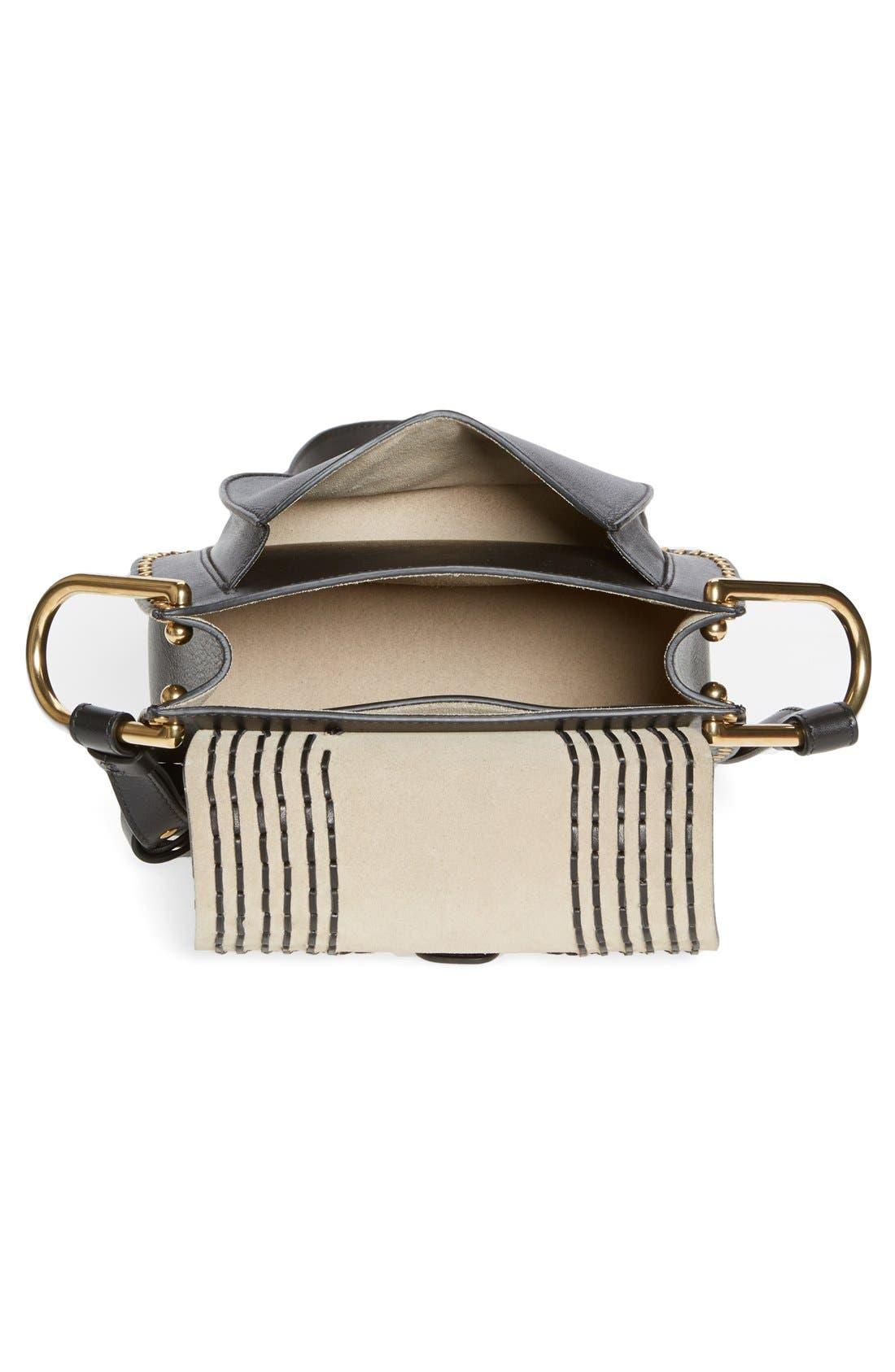 CHLOÉ,                             'Small Hudson' Studded Calfskin Leather Crossbody Bag,                             Alternate thumbnail 5, color,                             001