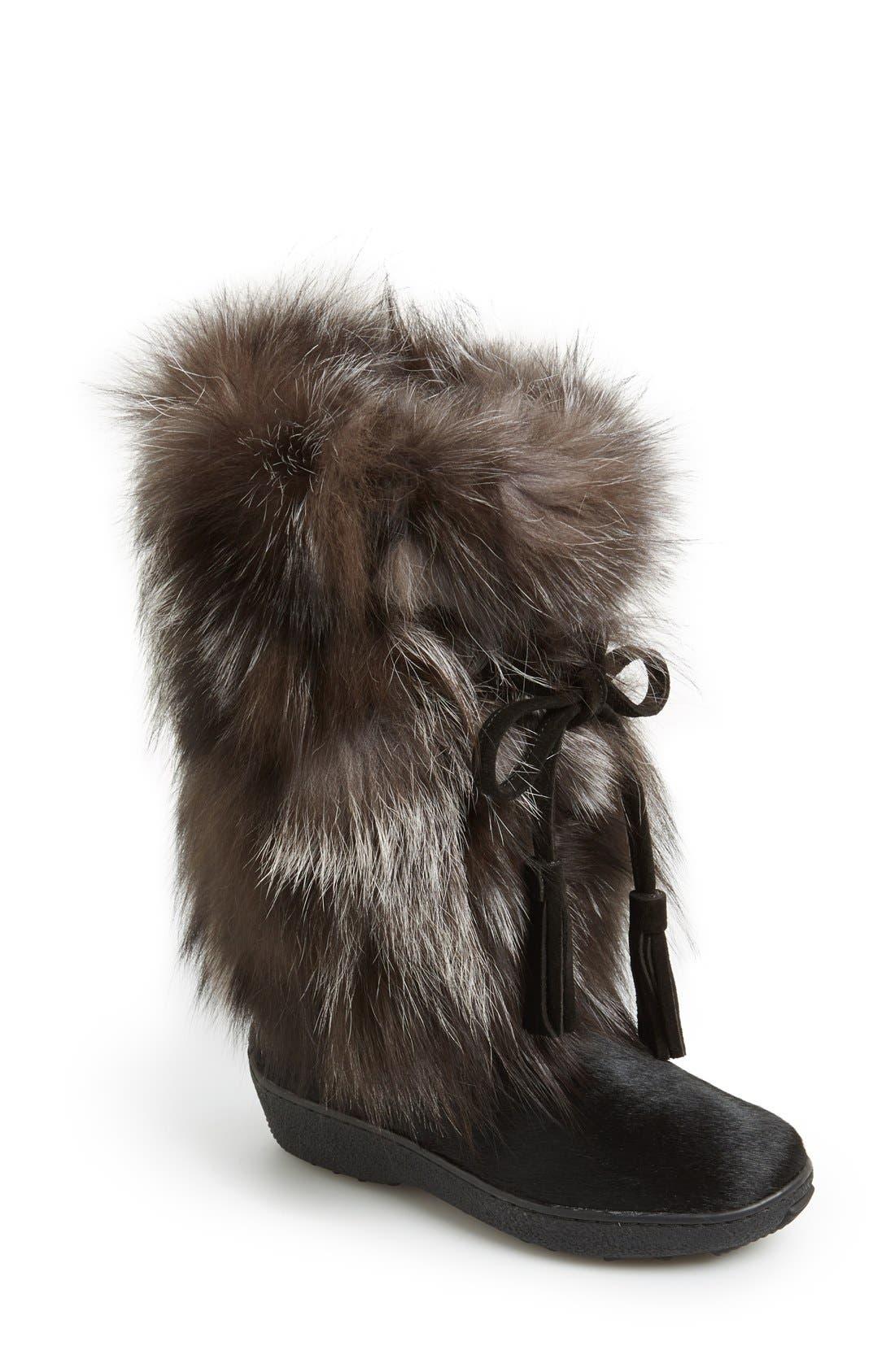 'Fox Trot' Genuine Fox Fur & Calf Hair Boot,                             Main thumbnail 1, color,                             001