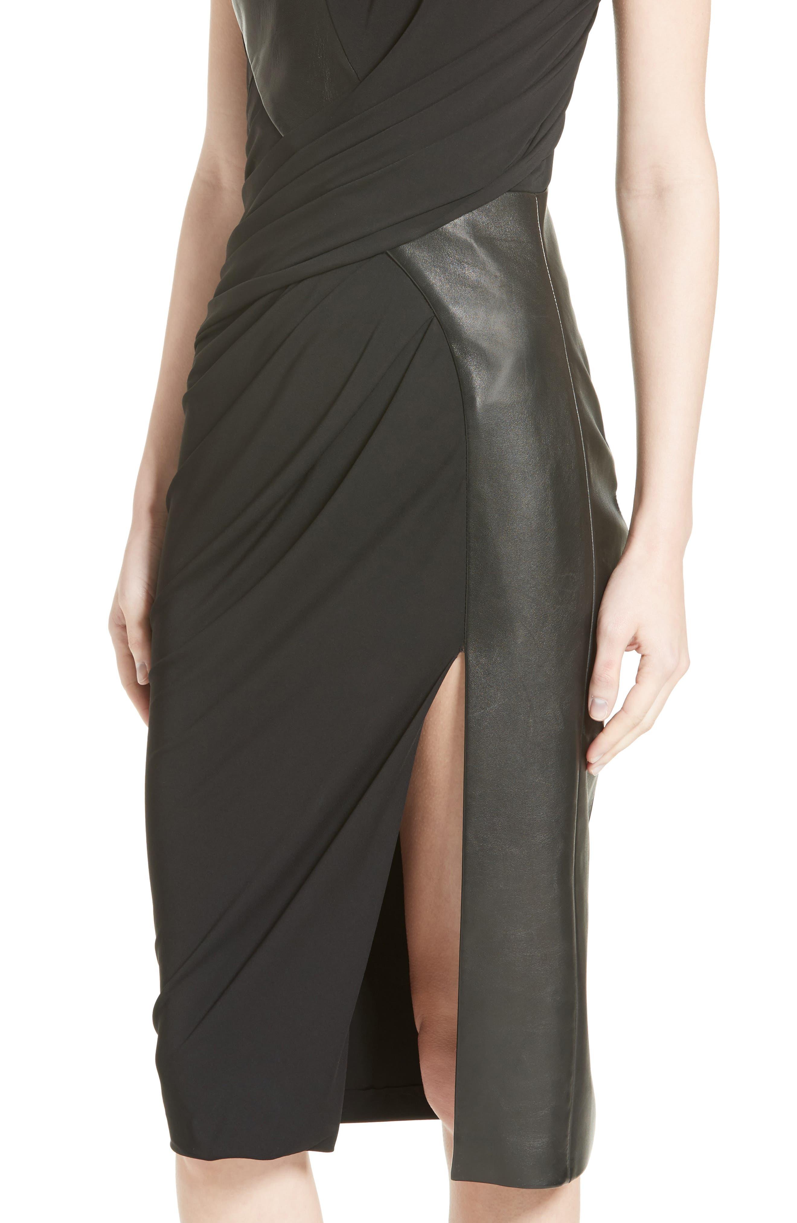 Draped Jersey & Leather Dress,                             Alternate thumbnail 4, color,                             001