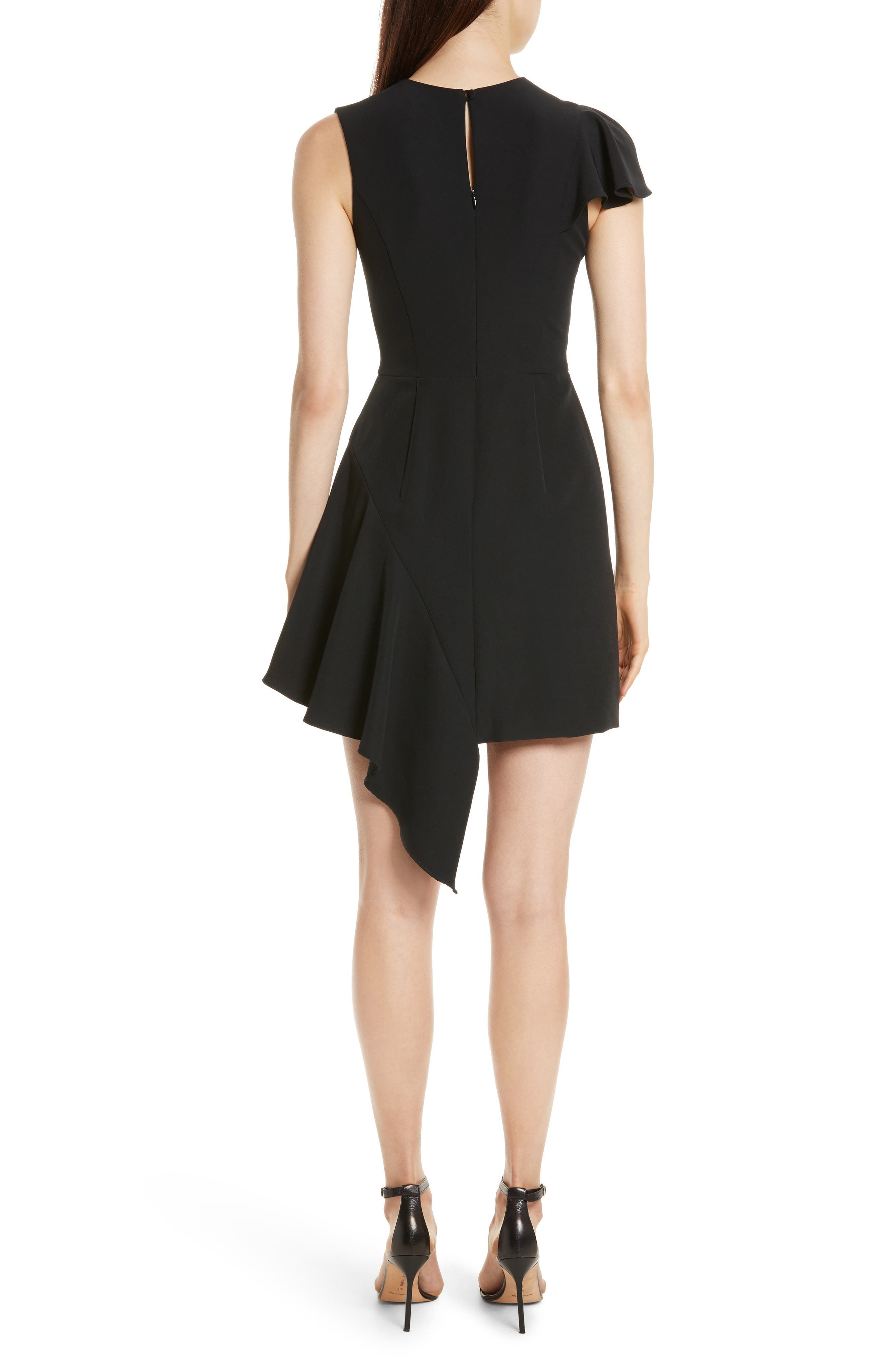 Asymmetrical Ruffle Stretch Cady Dress,                             Alternate thumbnail 2, color,                             001