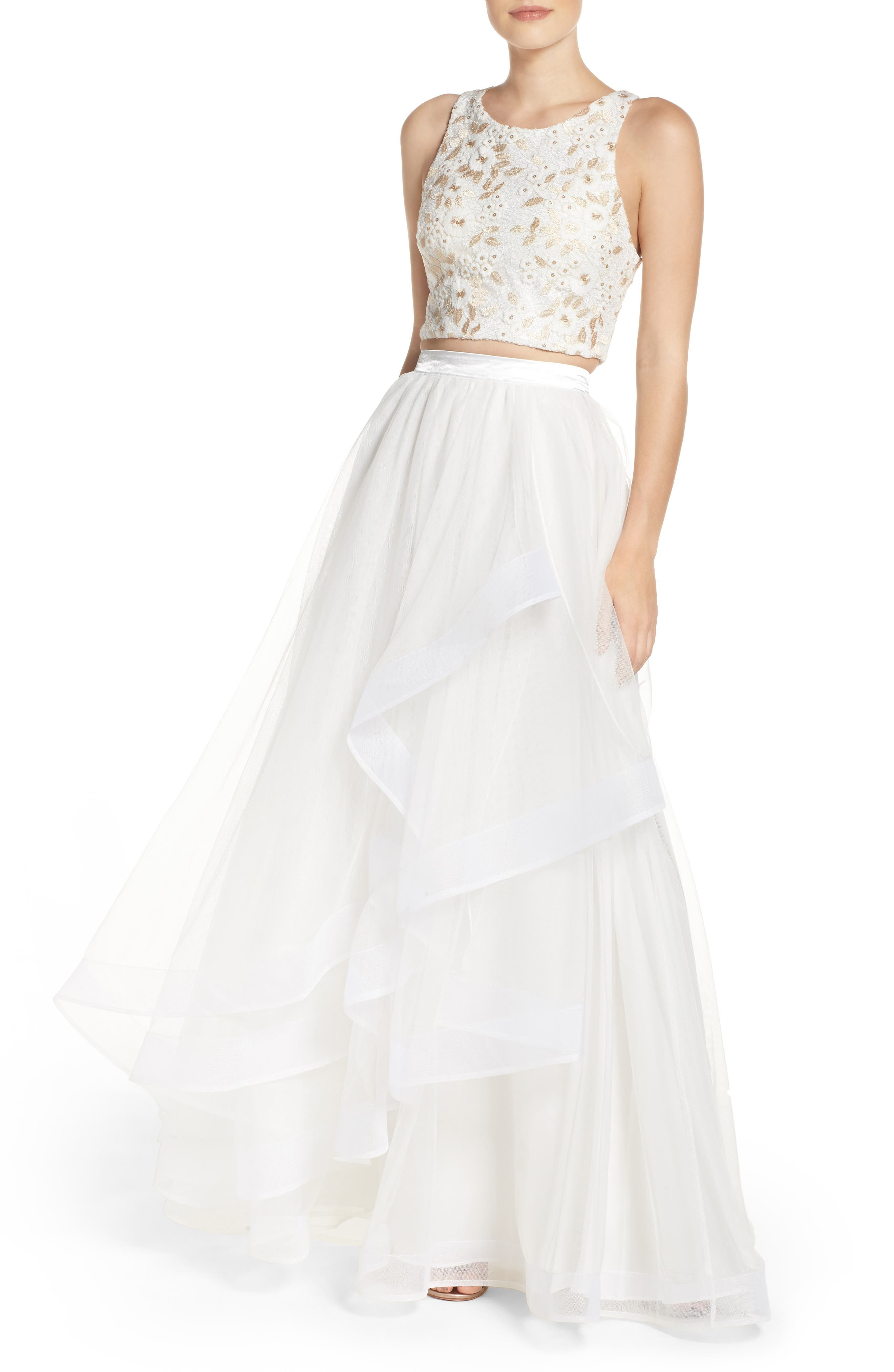 Embroidered Tulle Two-Piece Gown,                             Main thumbnail 1, color,