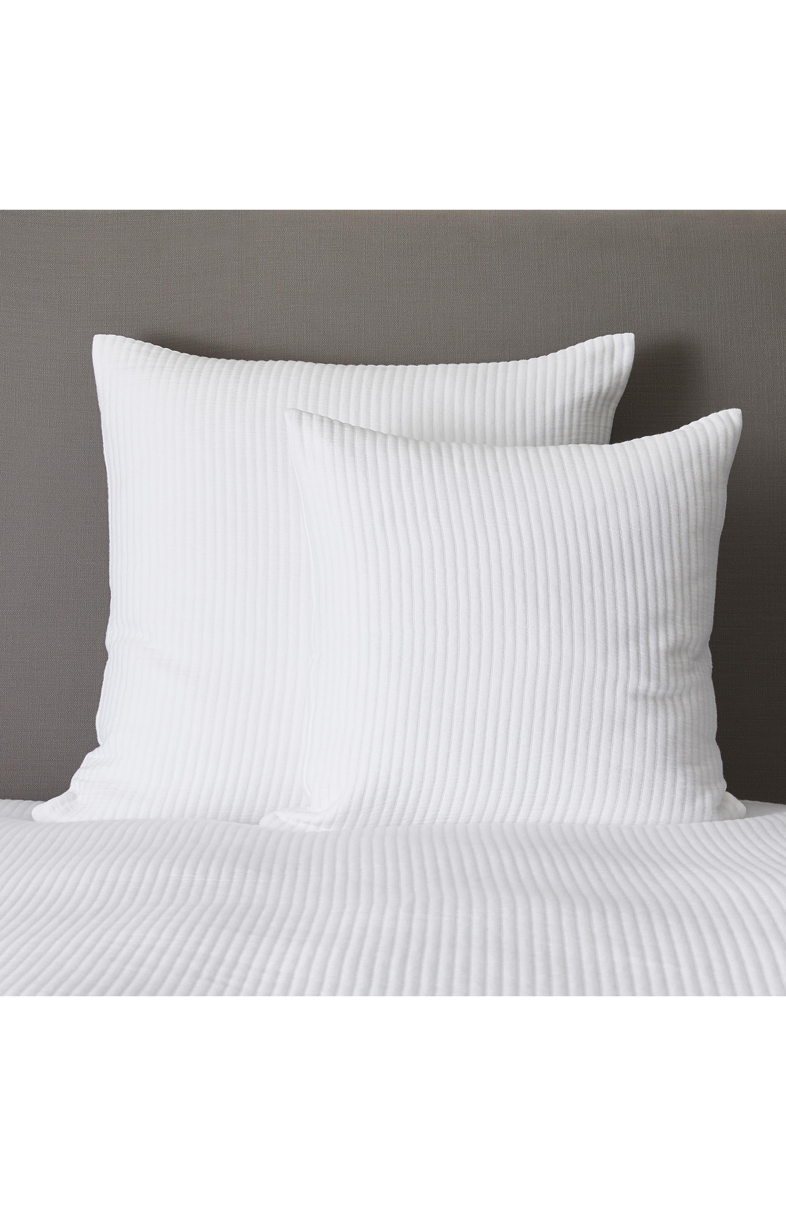THE WHITE COMPANY Classic Rib Cushion Cover, Main, color, WHITE