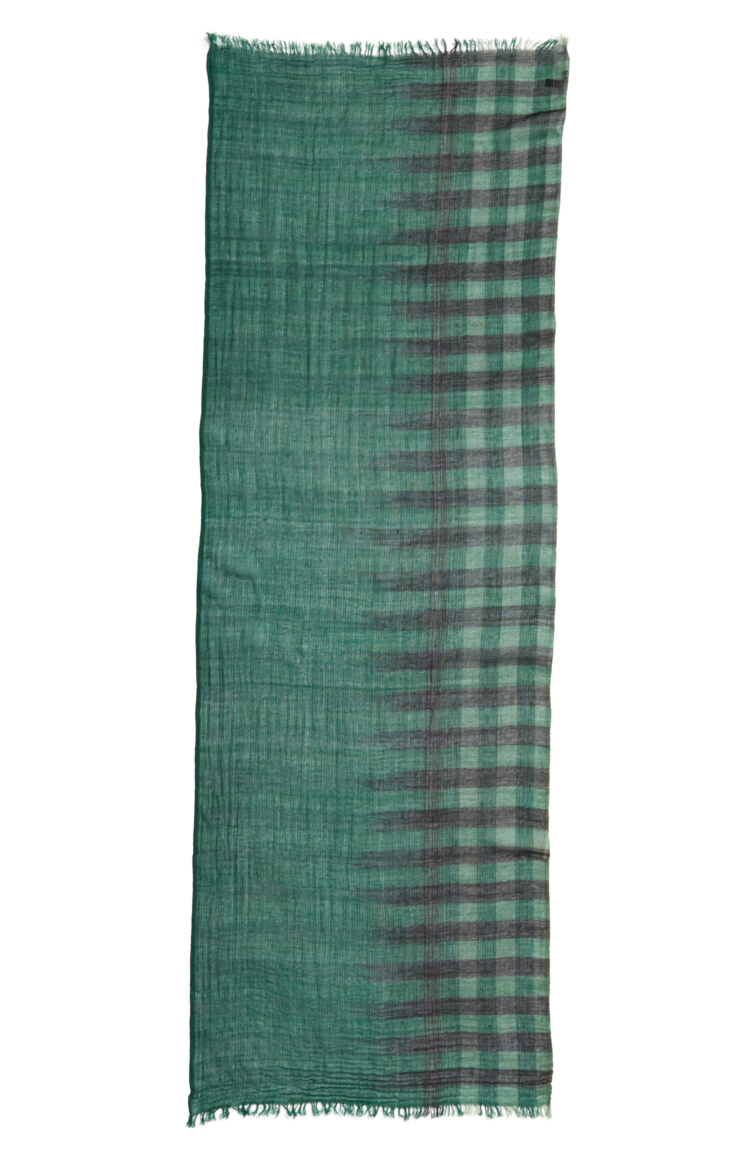 Plaid Wool Scarf,                             Alternate thumbnail 3, color,                             369