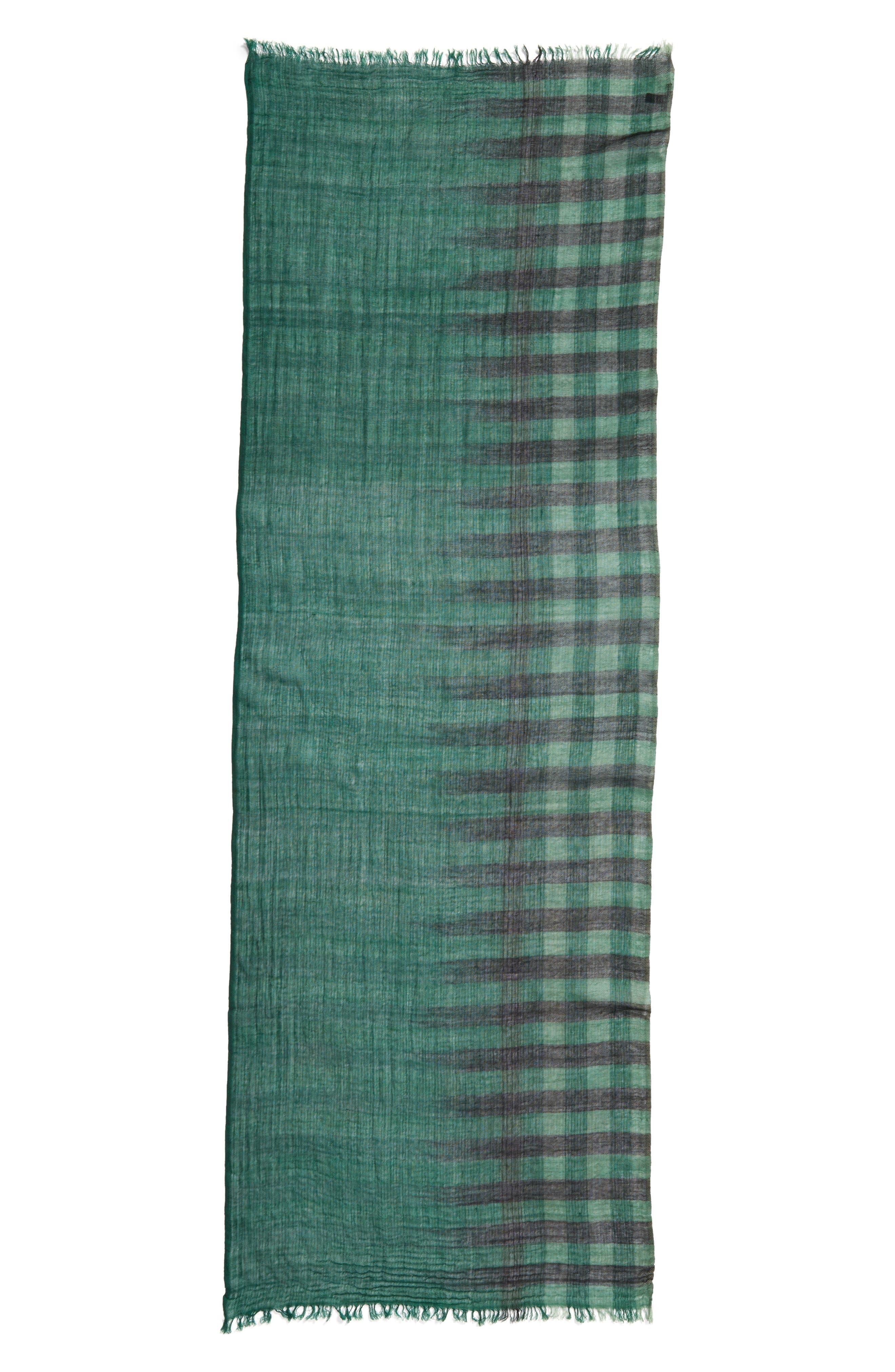 Plaid Wool Scarf,                             Alternate thumbnail 9, color,