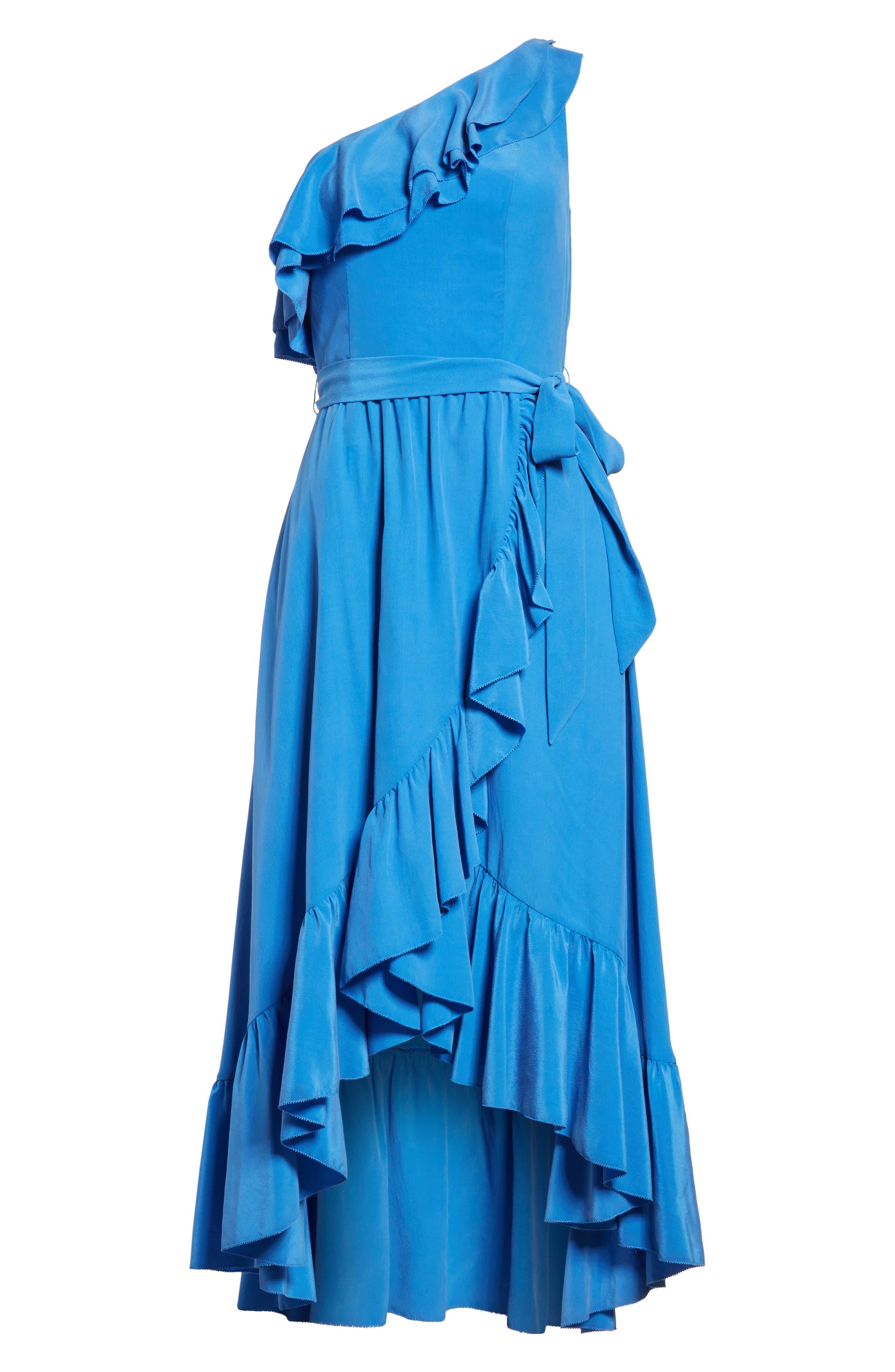 Damica Ruffle One-Shoulder Silk Dress,                             Alternate thumbnail 6, color,                             420