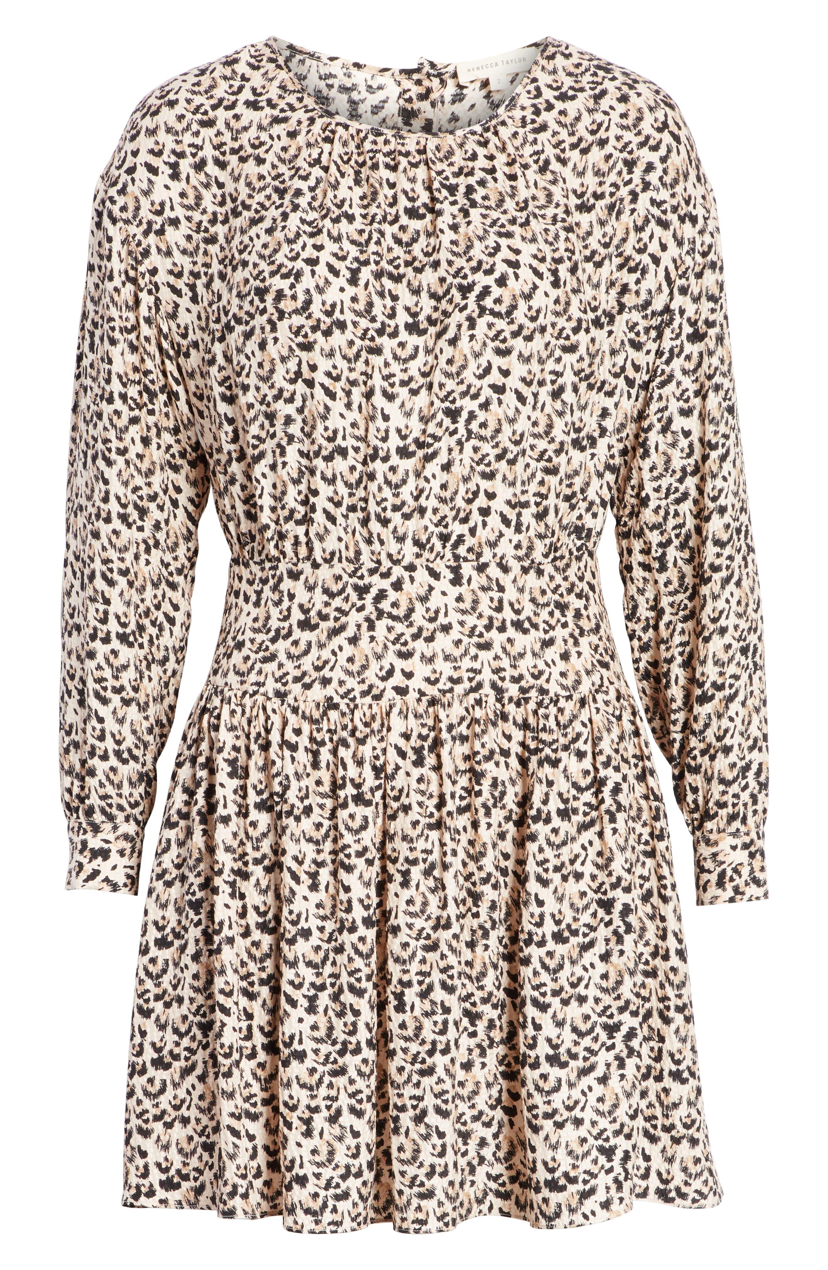 Leopard Print Silk Dress,                             Alternate thumbnail 7, color,                             CARAMEL COMBO