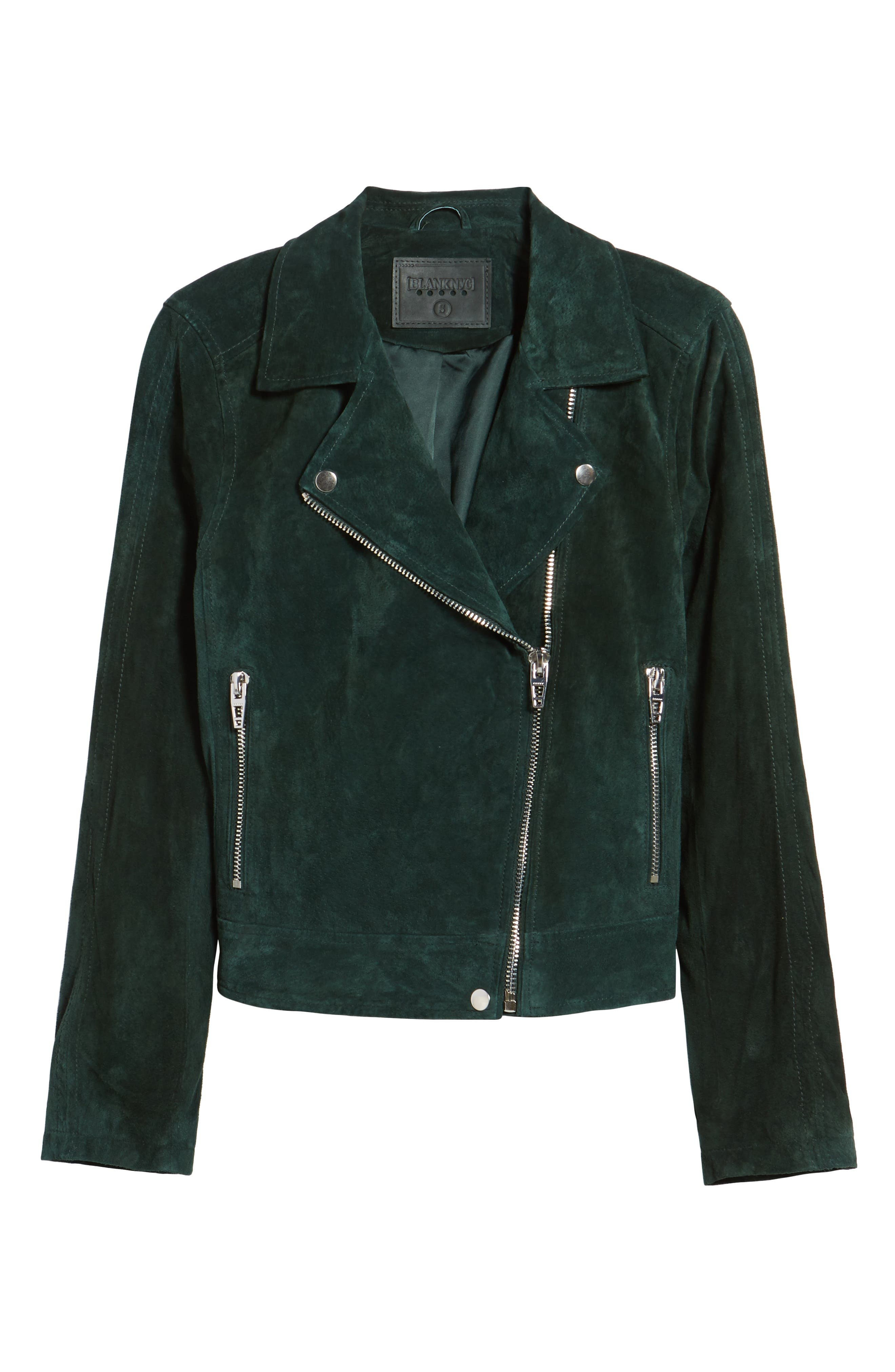 BLANKNYC,                             Suede Moto Jacket,                             Alternate thumbnail 6, color,                             EVERGREEN